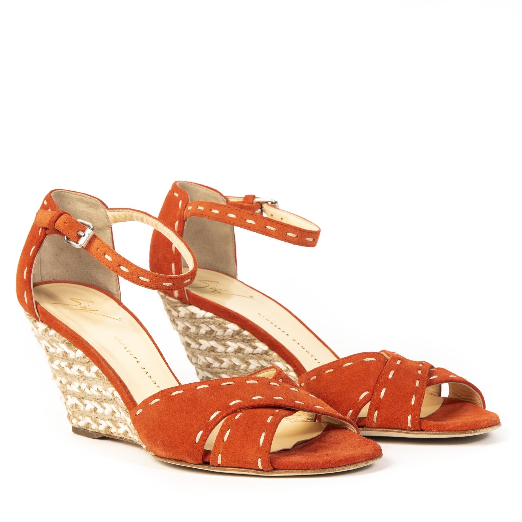 Authentieke Tweedehands Giuseppe Zanotti Orange Wedges juiste prijs veilig online shoppen webshop luxe merken winkelen Antwerpen België mode fashion