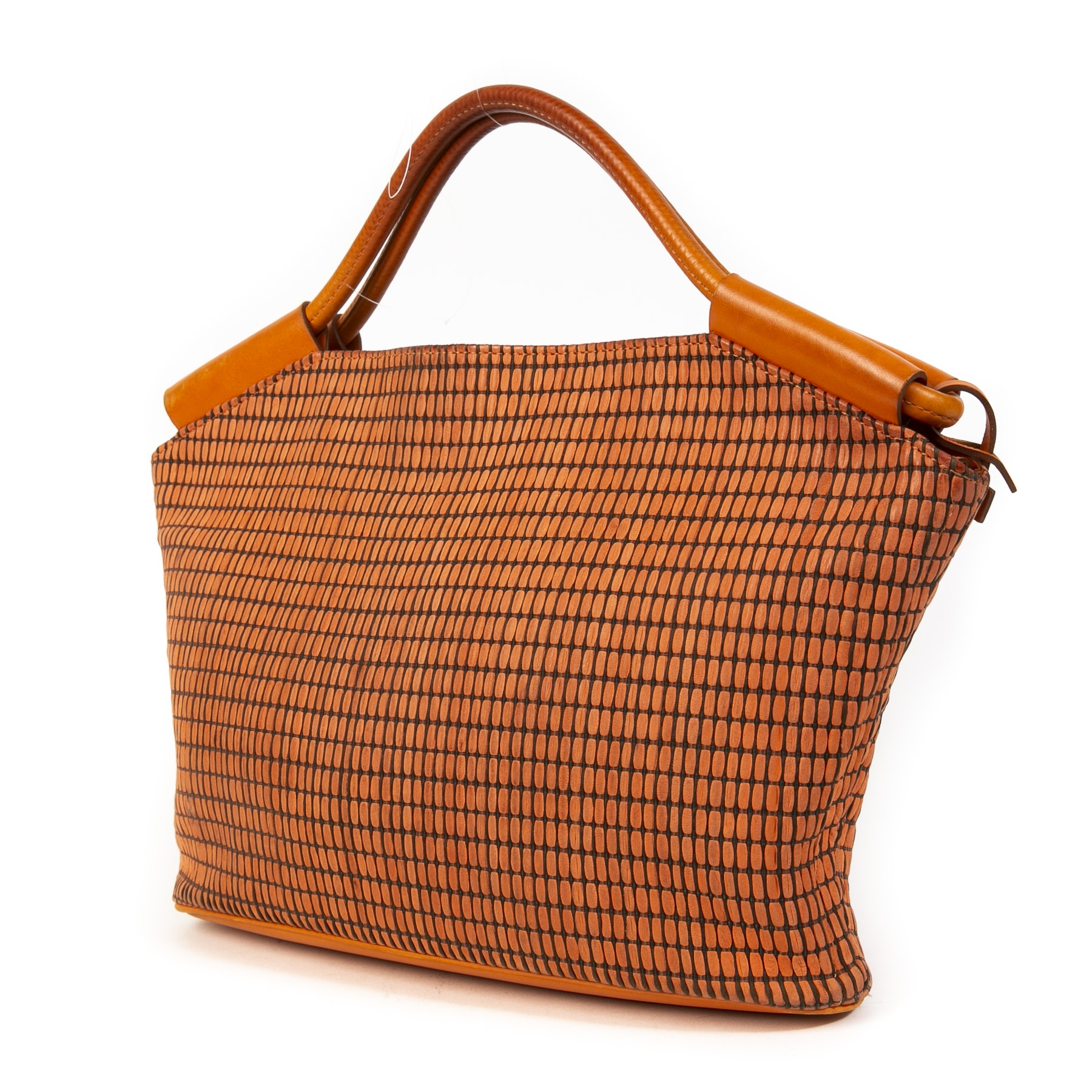Authentieke tweedehands vintage Delvaux Orange Top Handle Bag koop online webshop LabelLOV