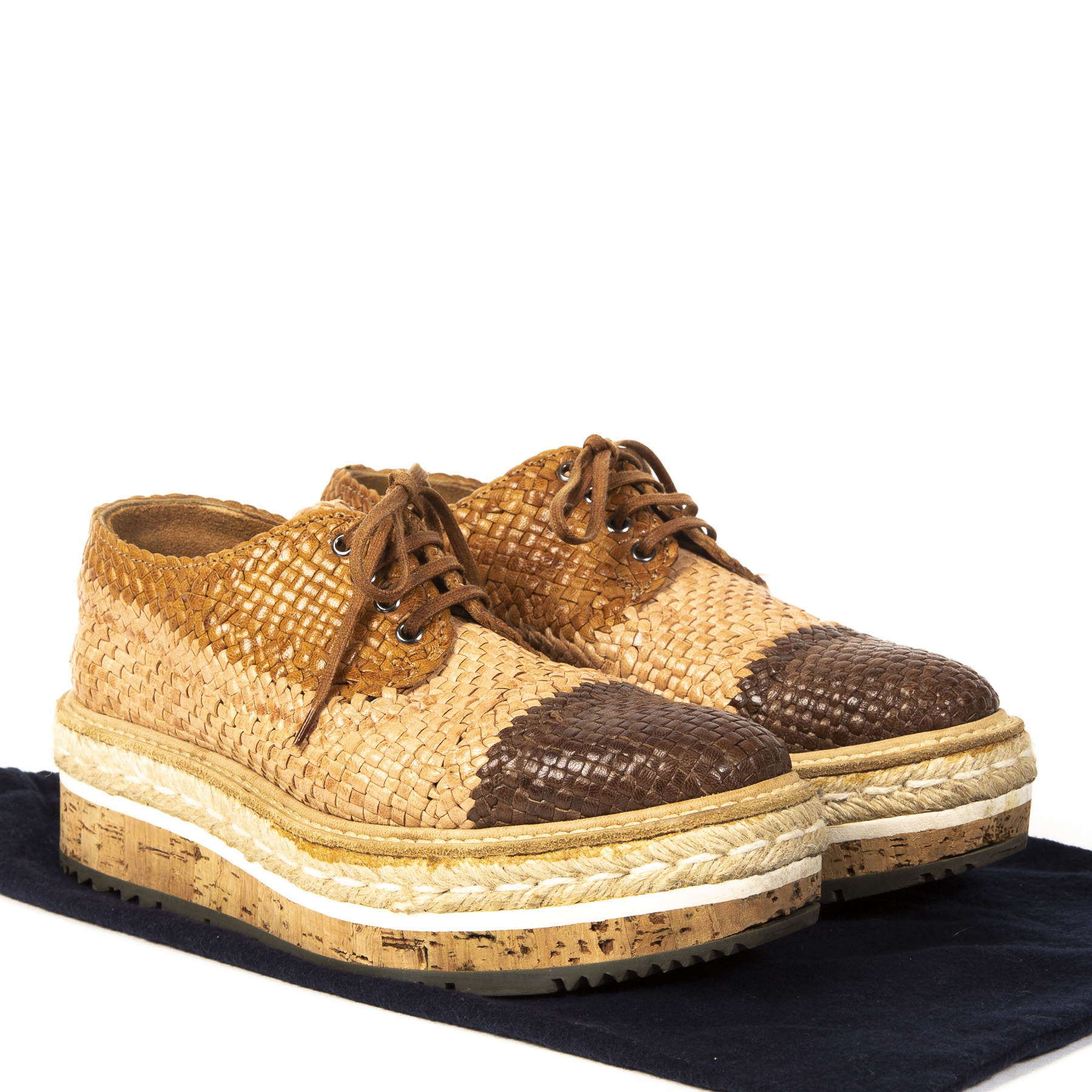 Authentic second-hand vintage Prada Cognac Woven Flatform Espadrilles buy online webshop LabelLOV
