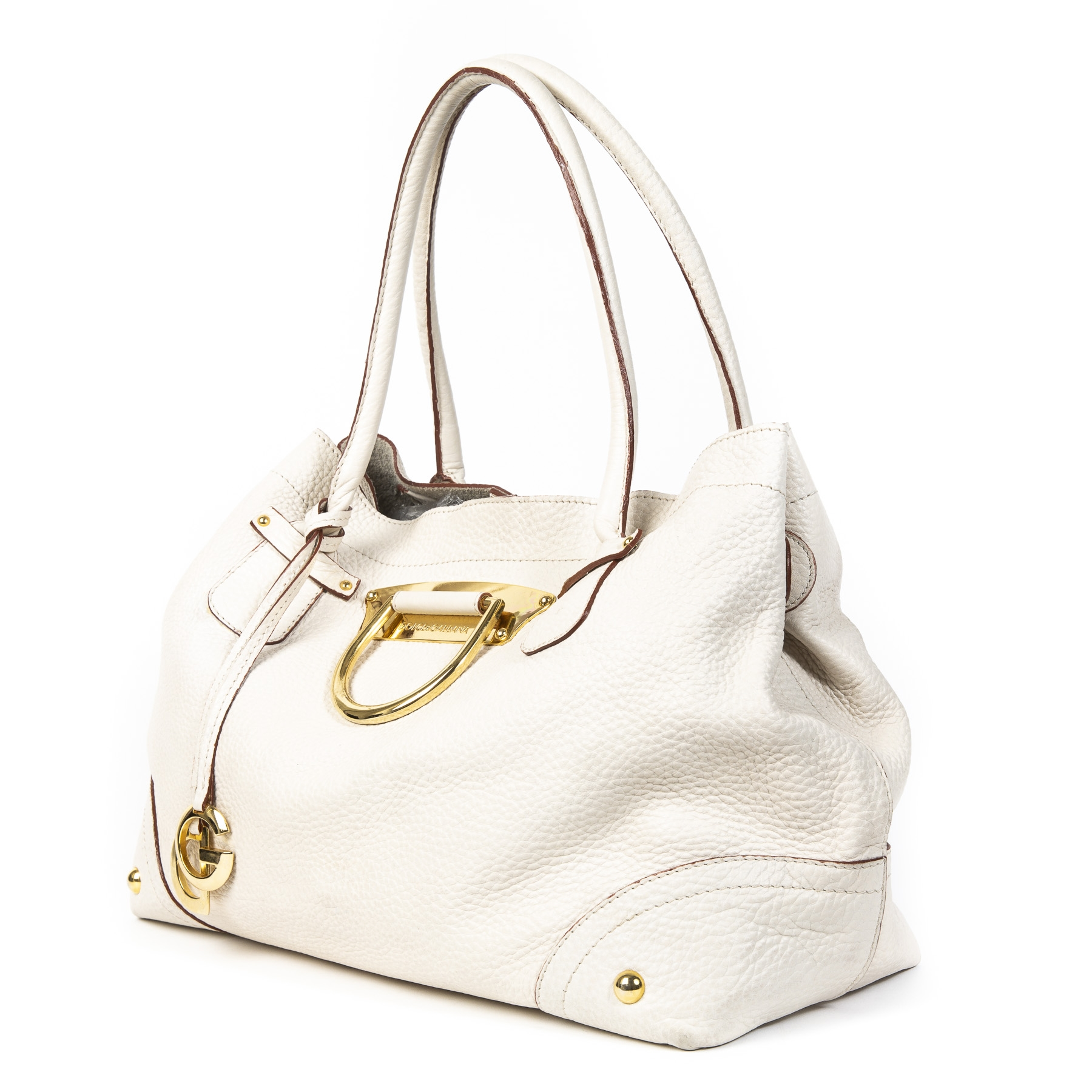 Authentieke tweedehands vintage Dolce & Gabbana White Leather D-Ring Shoulder Bag koop online webshop LabelLOV