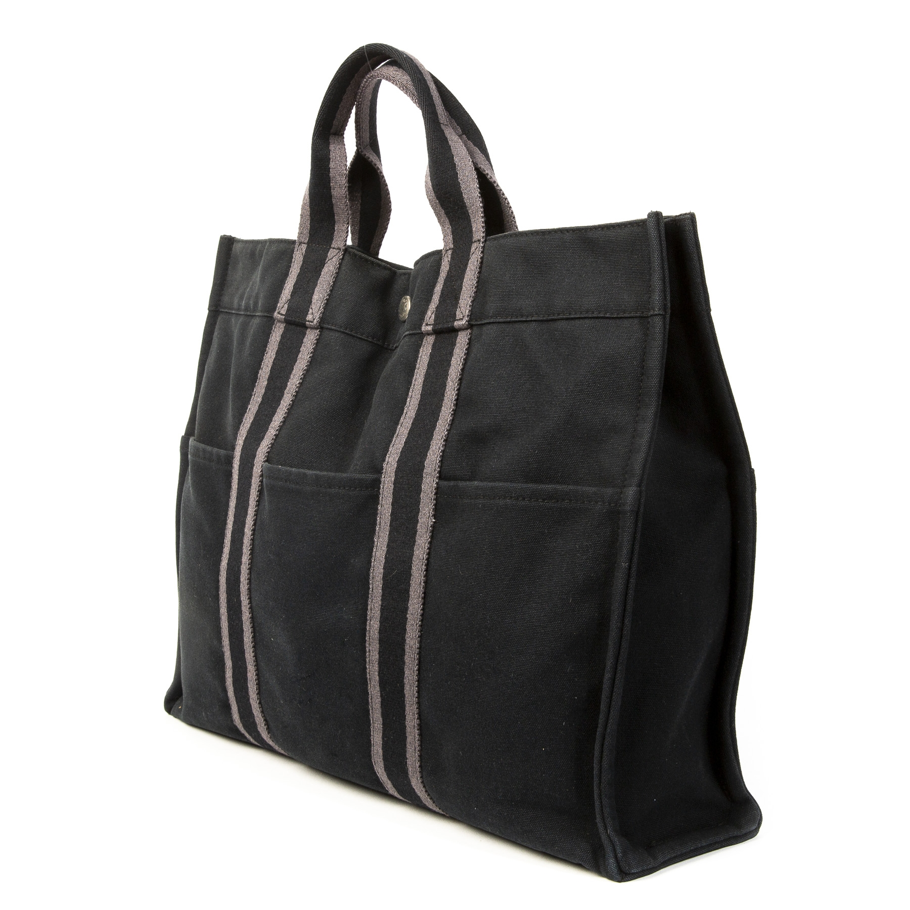 Hermes Black & Grey Canvas Fourre Tout Tote Bag