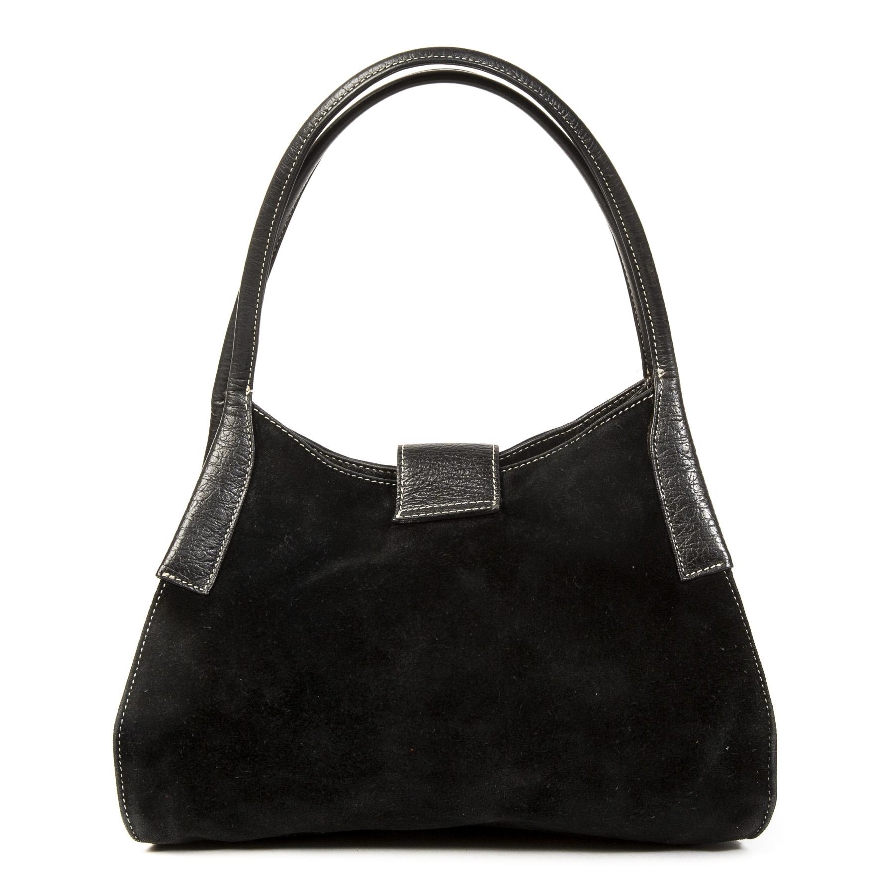 Authentieke tweedehands vintage Tods Black Suede Shoulder Bag koop online webshop LabelLOV