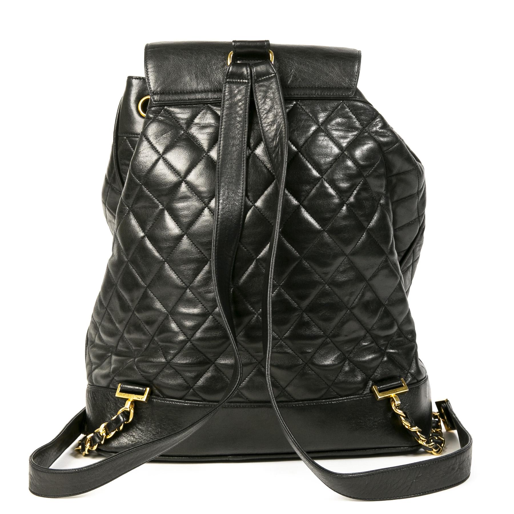 Authentieke Tweedehands Chanel Black Quilted Leather Backpack juiste prijs veilig online shoppen luxe merken webshop winkelen Antwerpen België mode fashion