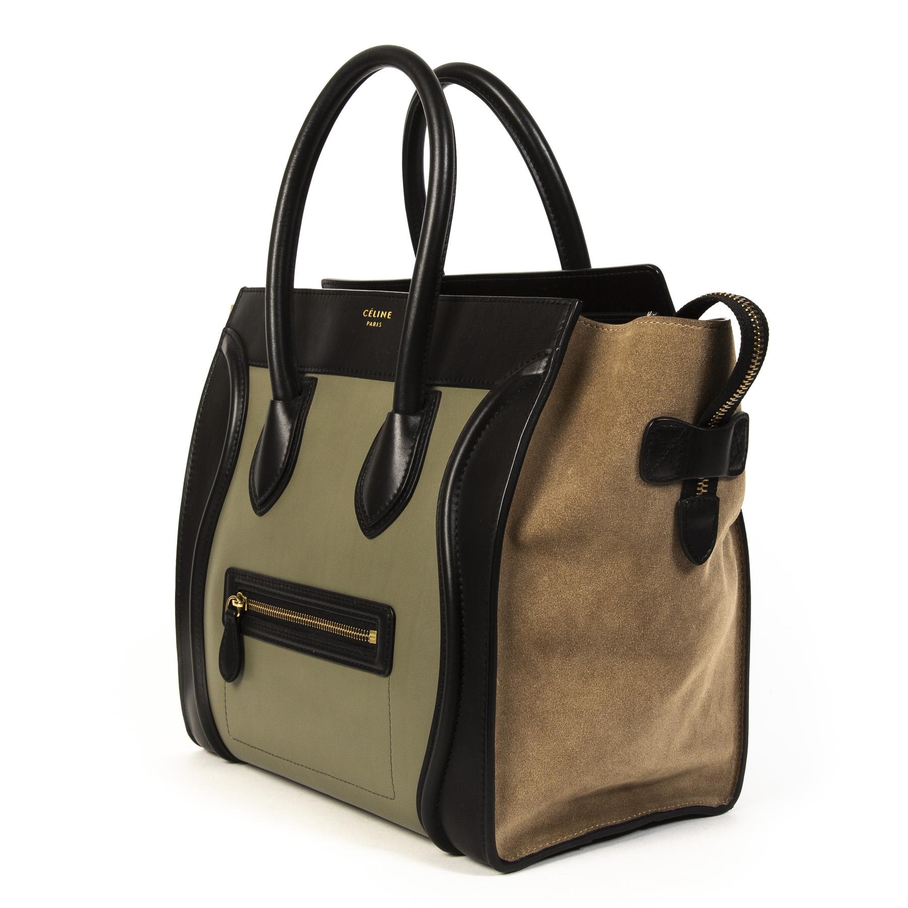 Celine Luggage Black Green and Beige Tricolor Handbag
