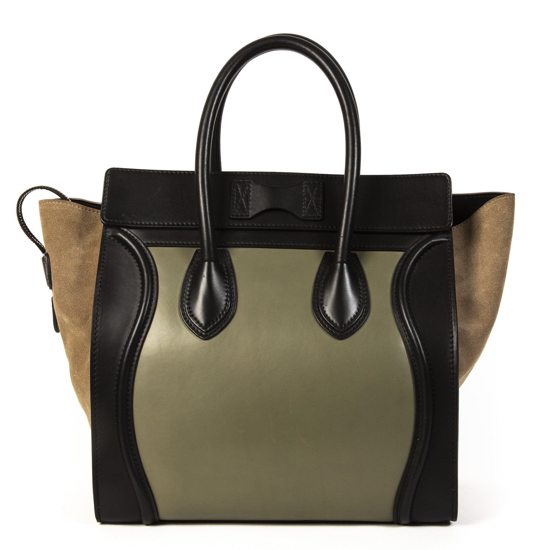 Celine Luggage Black Green and Beige Tricolor Handbag