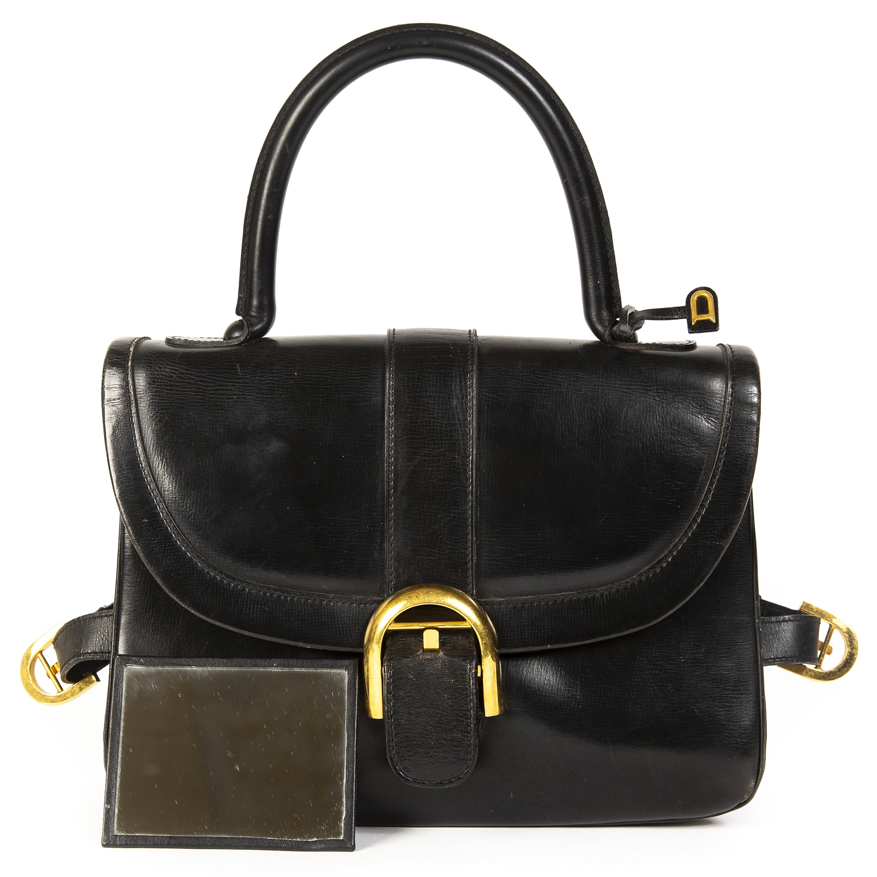 Delvaux Brillant Rouilly Black Top Handle
