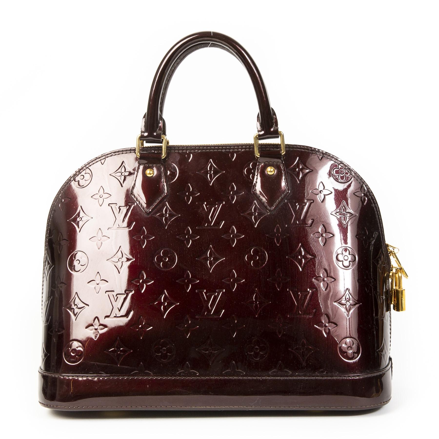 Authentieke Tweedehands Louis Vuitton Amarante Vernis Alma Bag juiste prijs veilig online shoppen luxe merken webshop winkelen Antwerpen België