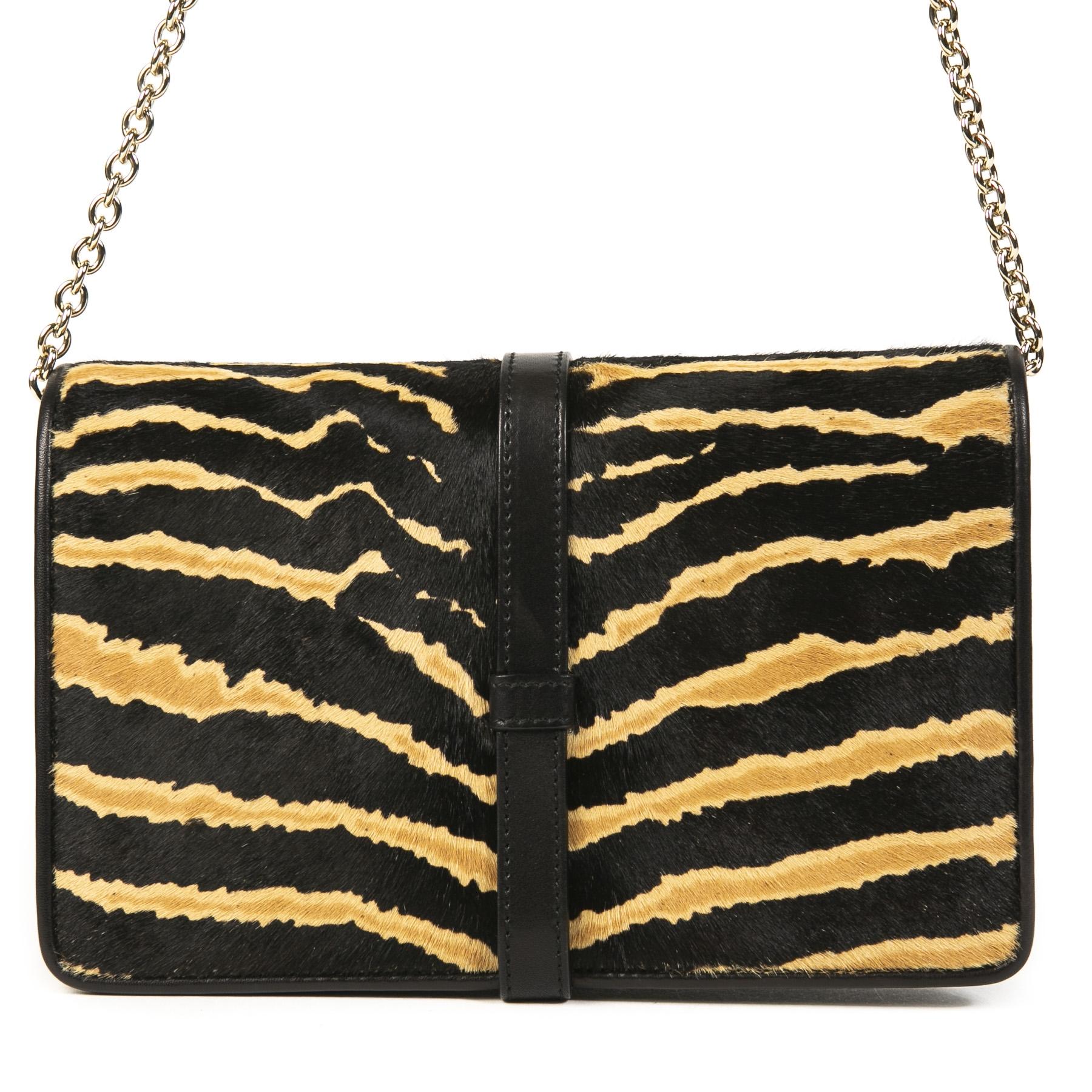 Authentieke Tweedehands Gucci Zebra Broadway Evening Bag juiste prijs veilig online shoppen luxe merken webshop winkelen Antwerpen België mode fashion