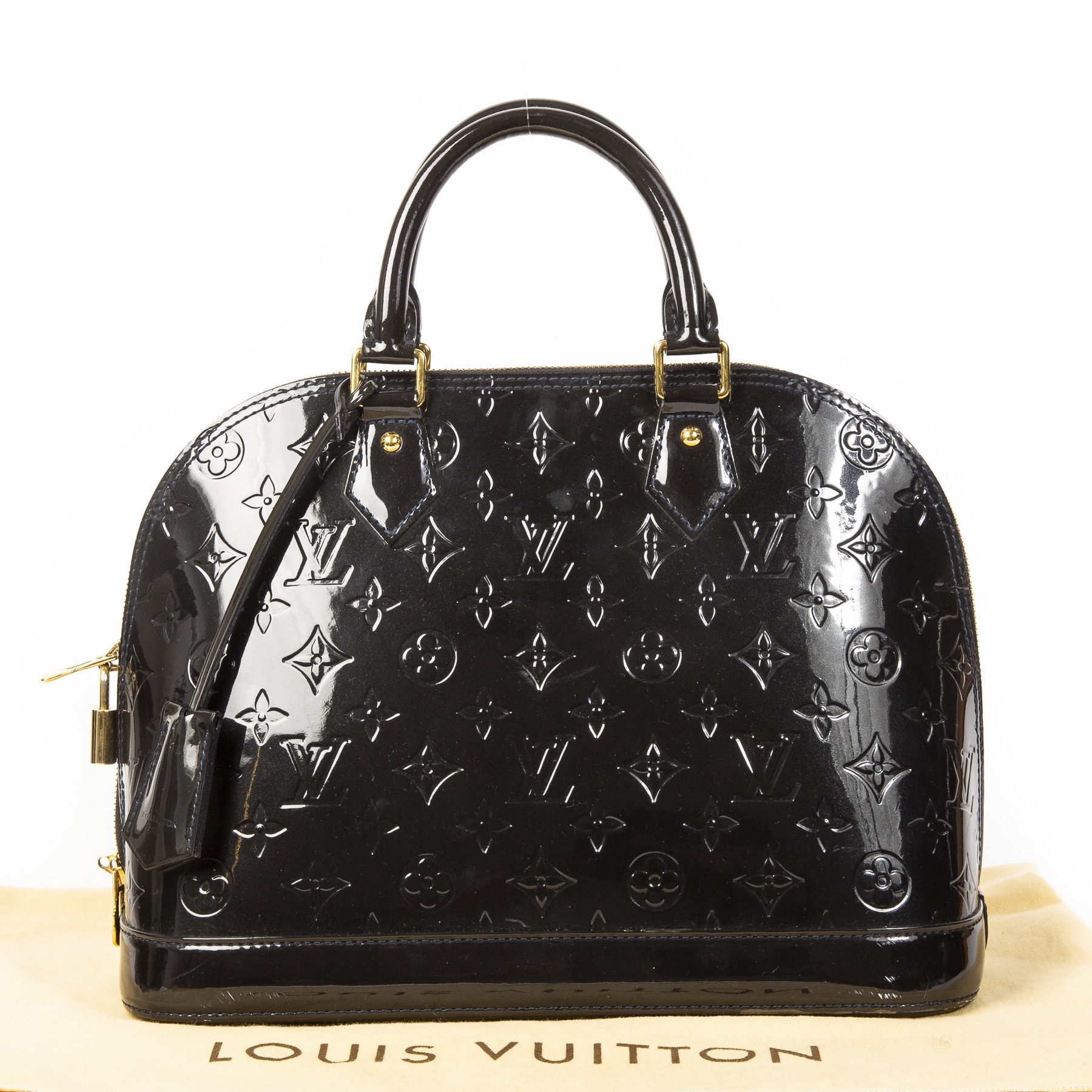 Louis Vuitton Dark Blue Vernis Alma PM Bag Louis Vuitton Dark Blue Vernis Alma PM Bag