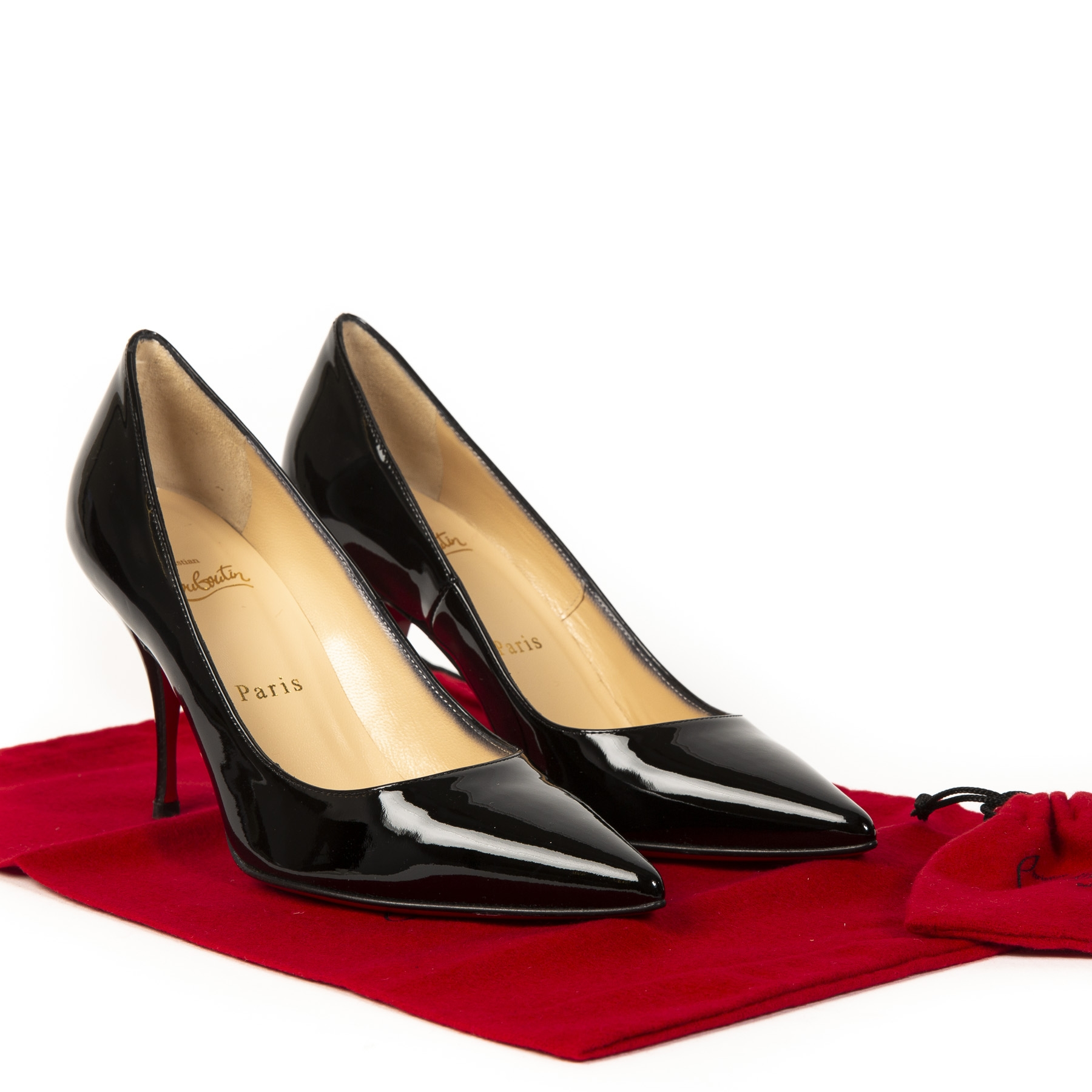 Authentieke tweedehands vintage Christian Louboutin Black New Piaf 85 Patent Leather Pumps koop online webshop LabelLOV