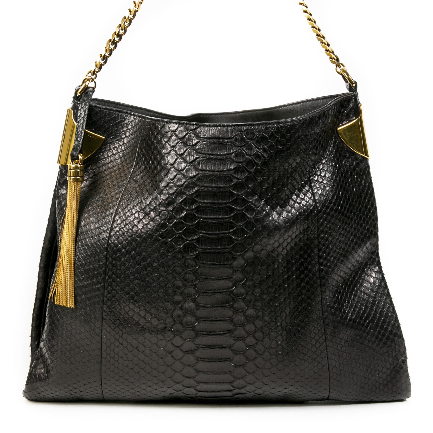 Authentieke Tweedehands Gucci Black Python Shoulder Bag juiste prijs veilig online shoppen luxe merken webshop winkelen Antwerpen België mode fashion