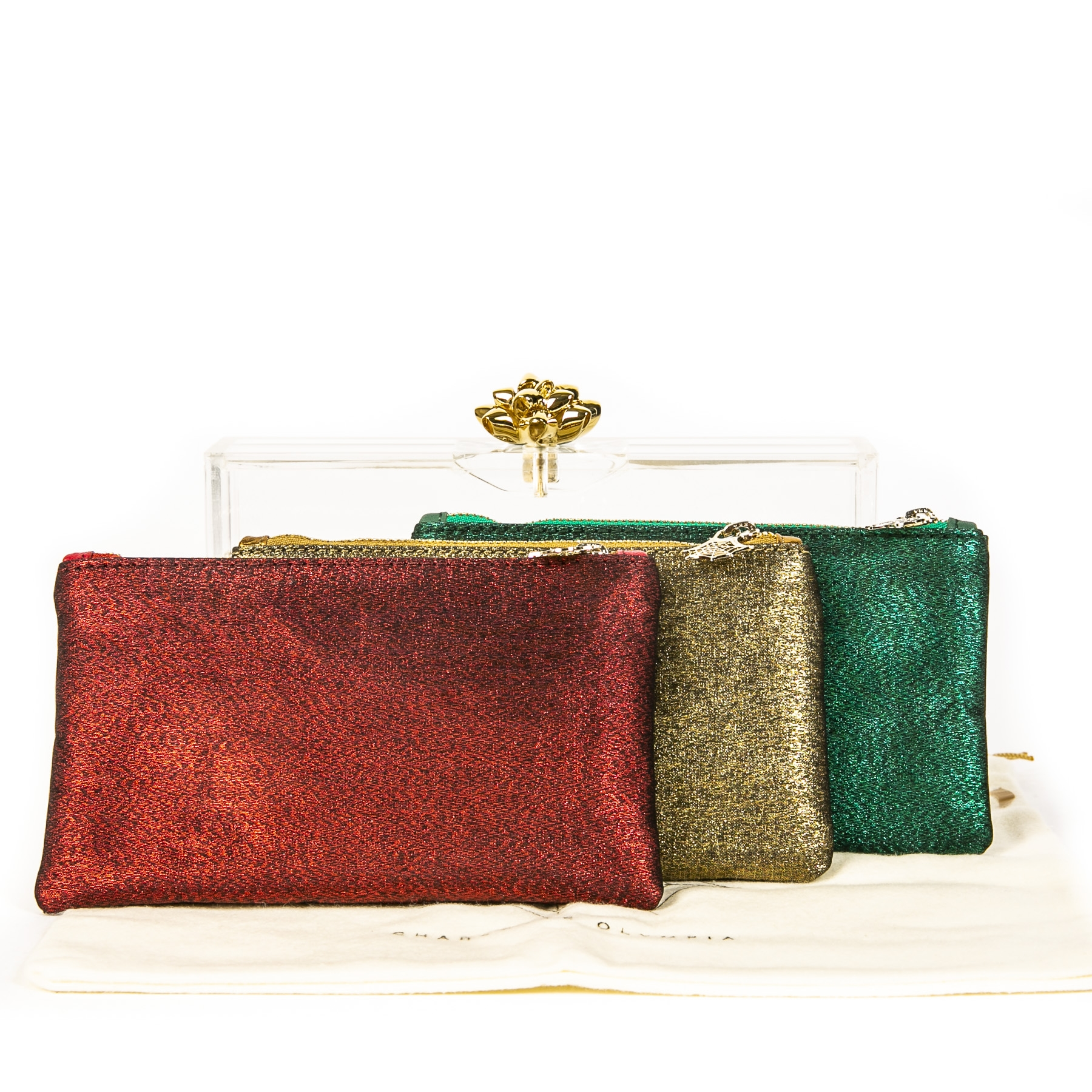 Authentieke Tweedehands Charlotte Olympia Pandora Box Clutch in Red Green Gold Shimmer juiste prijs veilig online shoppen luxe merken webshop winkelen Antwerpen België mode fashion