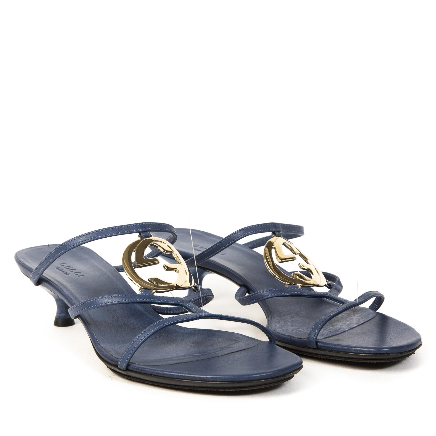 Authentieke Tweedehands Gucci Blue Strap Sandal Heels GG juiste prijs veilig online shoppen luxe merken webshop winkelen Antwerpen België mode fashion