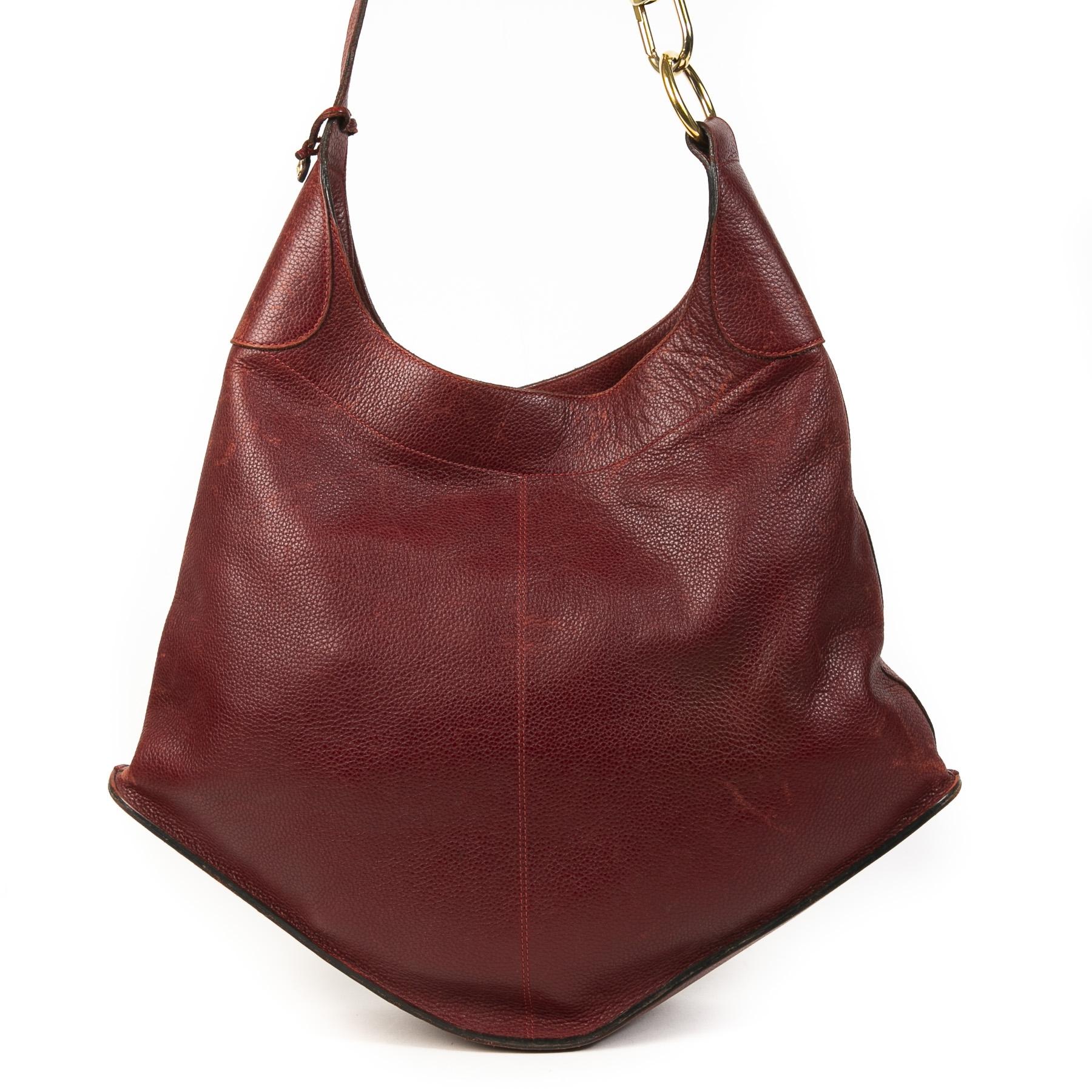 Authentieke Tweedehands Delvaux Dark Red Satan Shoulder Bag juiste prijs veilig online shoppen luxe merken webshop winkelen Antwerpen België mode fashion