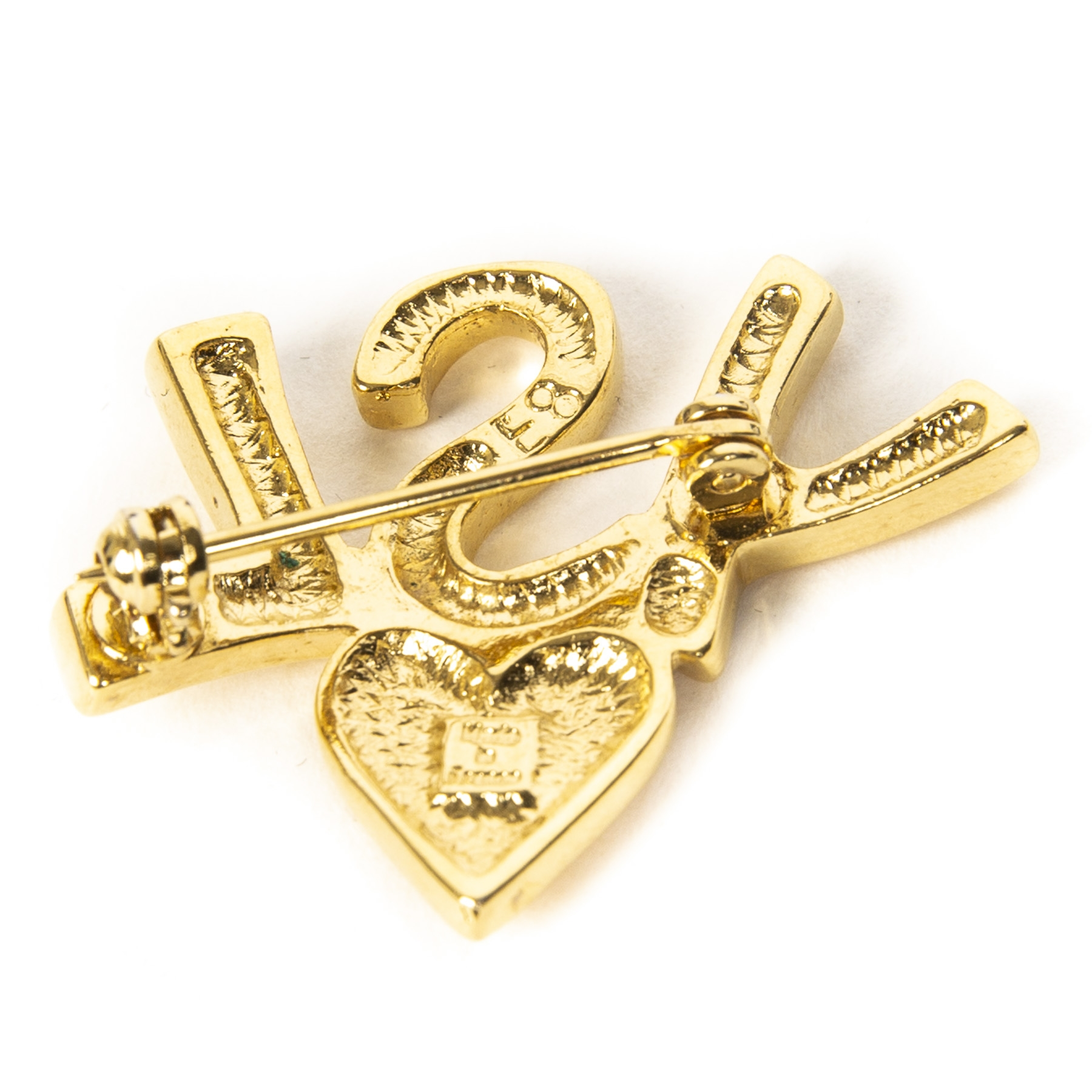 YSL Gold Logo Heart Brooch
