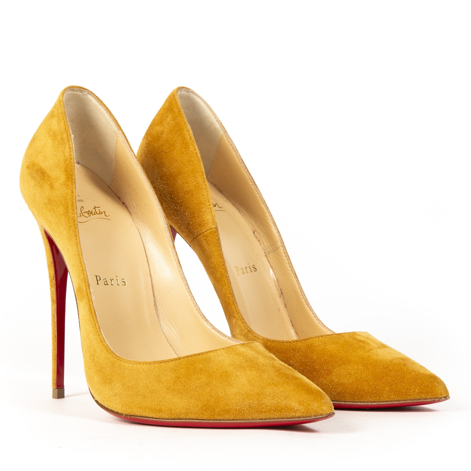We buy and sell your authentic Christian Louboutin Suede Camel Heels - Size 38