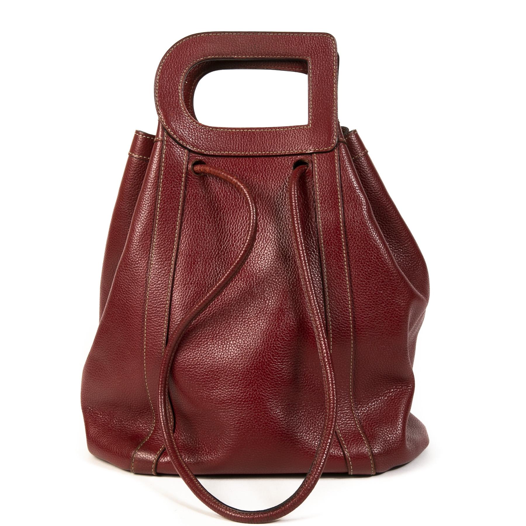 Authentieke Tweedehands Delvaux Dark Red D Drawstring Shoulder Bag juiste prijs veilig online shoppen luxe merken webshop winkelen Antwerpen België mode fashion