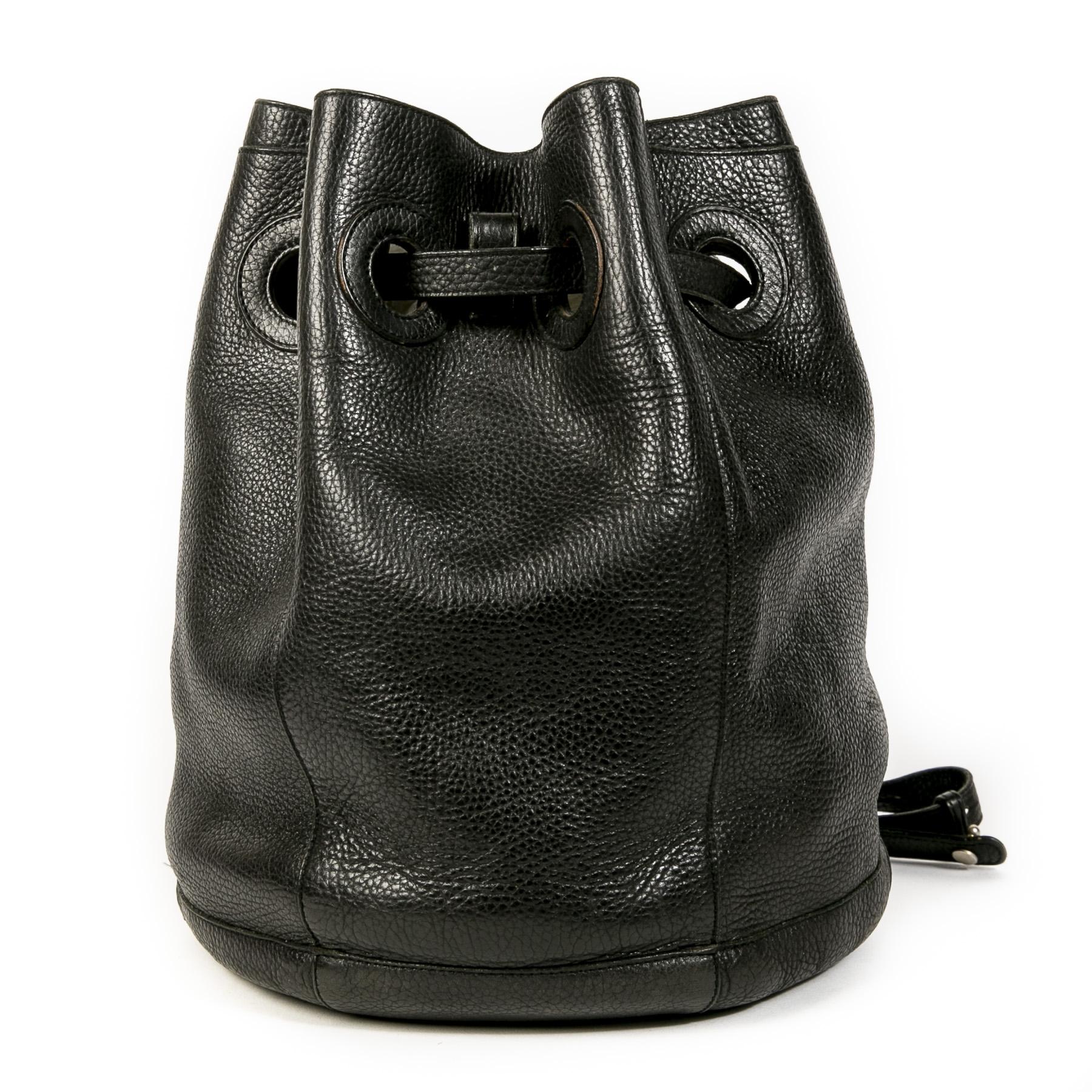 Authentieke Tweedehands Delvaux Black Leather Bucket Bag juiste prijs veilig online shoppen luxe merken webshop winkelen Antwerpen België mode fashion