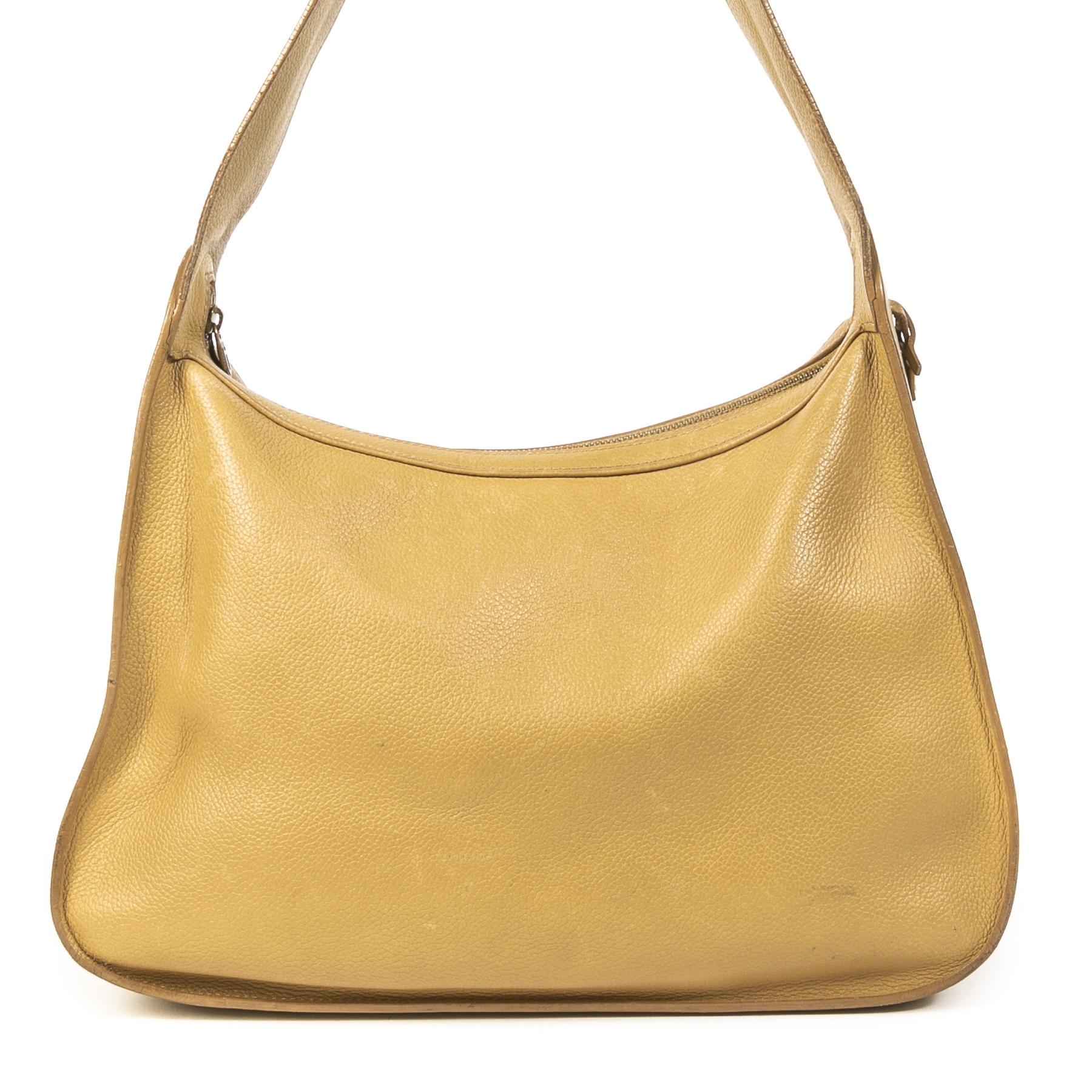 Authentieke Tweedehands Delvaux Pensée Ochre Yellow Shoulder Bag juiste prijs veilig online shoppen luxe merken webshop winkelen Antwerpen België mode fashion