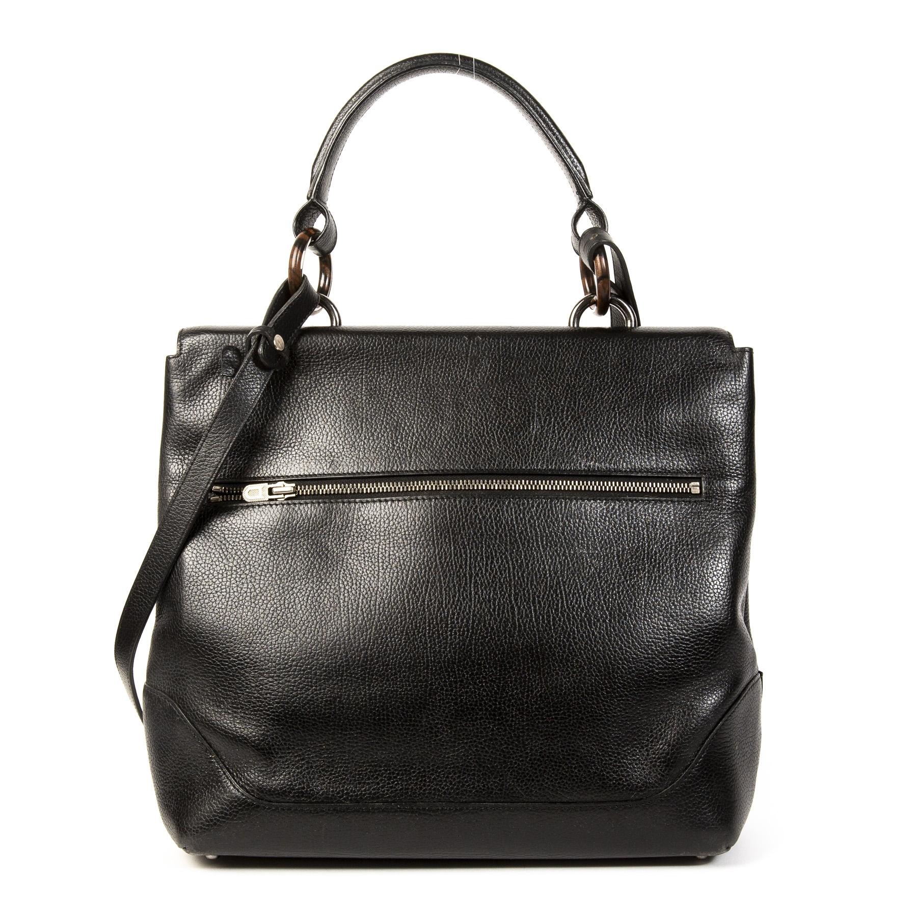 Authentieke Tweedehands Delvaux Black Leather Silver Clasp Shoulder Bag juiste prijs veilig online shoppen luxe merken webshop winkelen Antwerpen België mode fashion