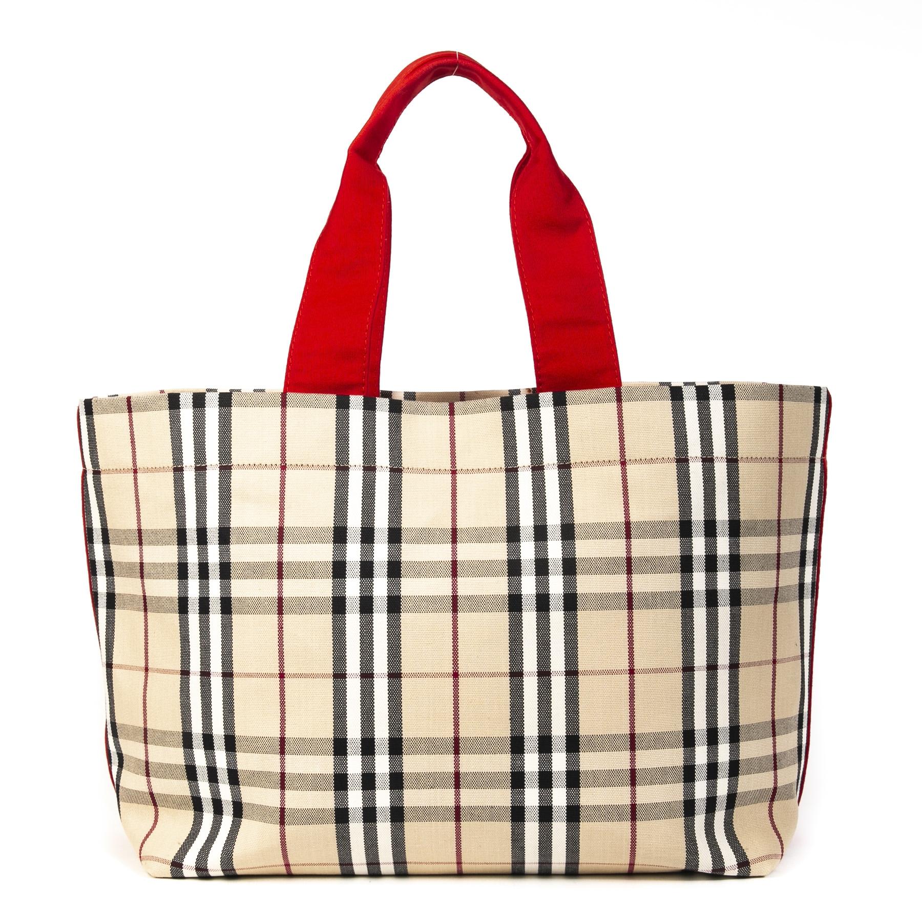 Authentieke Tweedehands Burberry Nova Check Shopper Bag juiste prijs veilig online shoppen luxe merken webshop winkelen Antwerpen België mode fashion