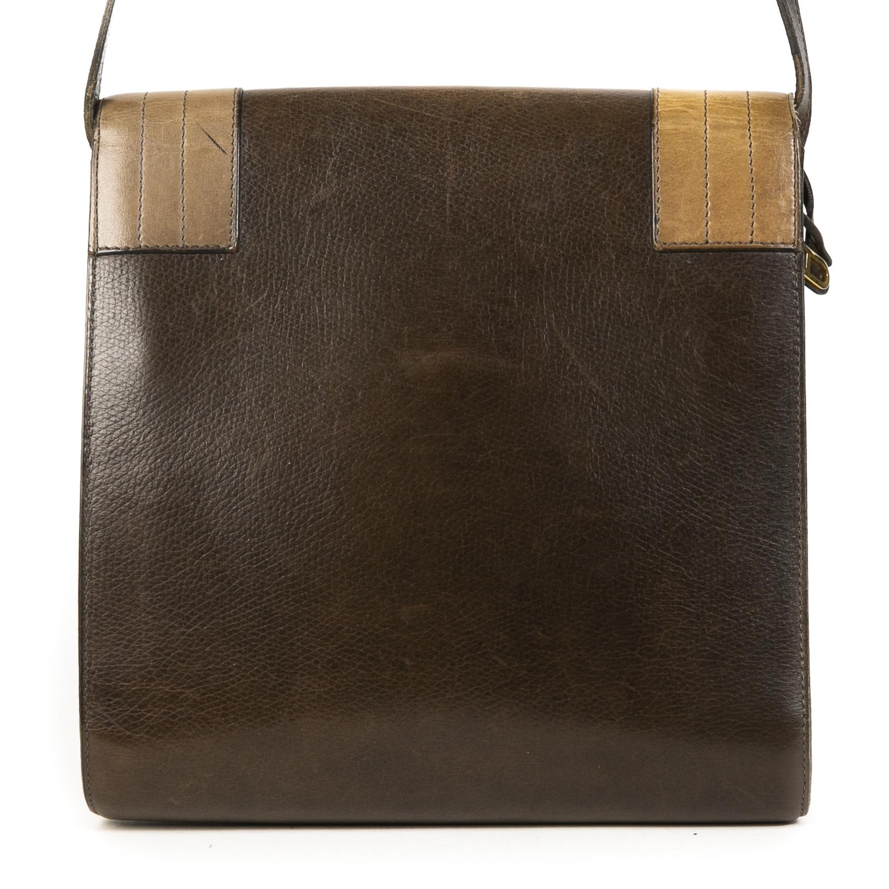 Authentieke Tweedehands Delvaux Chestnut Brown Leather Crossbody Bag juiste prijs veilig online shoppen luxe merken webshop winkelen Antwerpen België mode fashion
