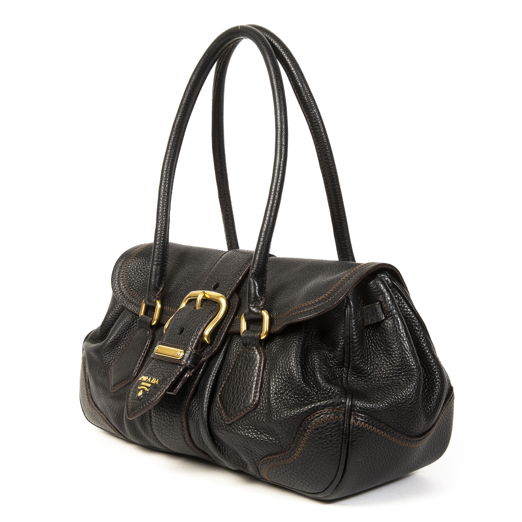 Authentic second-hand vintage Prada Black Gold Shouder Bag buy online webshop LabelLOV