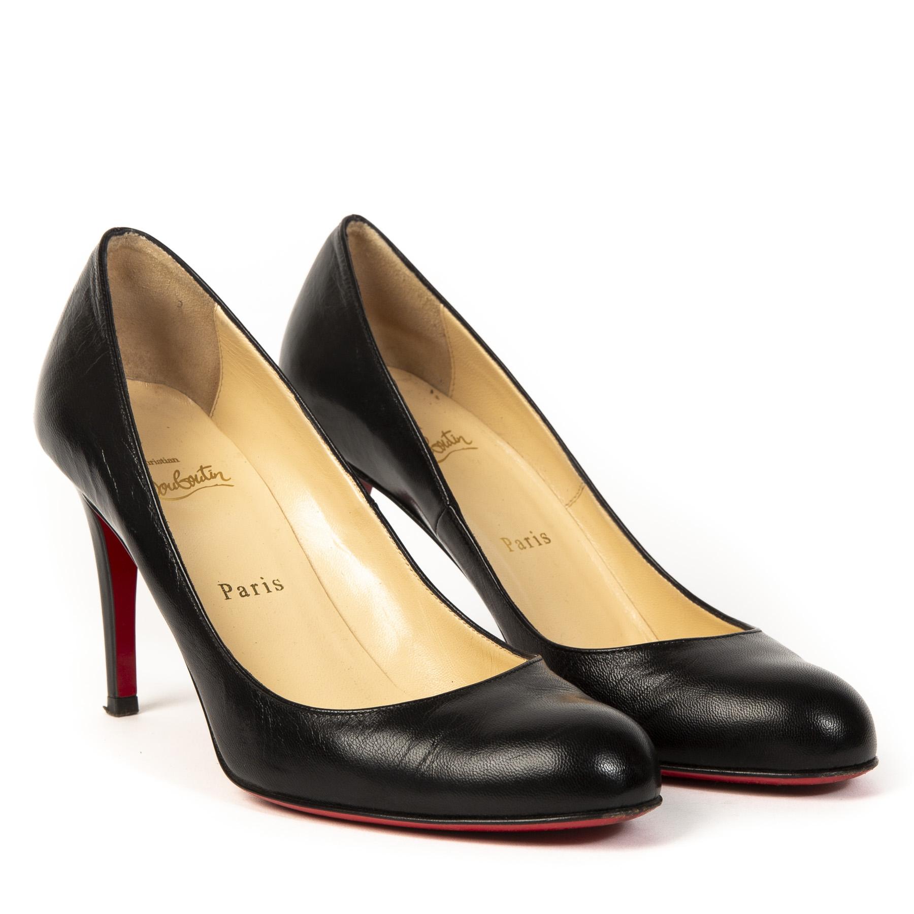Authentieke Tweedehands Christian Louboutin Black Classic 85 Leather Round Toe Pumps juiste prijs veilig online shoppen luxe merken webshop winkelen Antwerpen België mode fashion