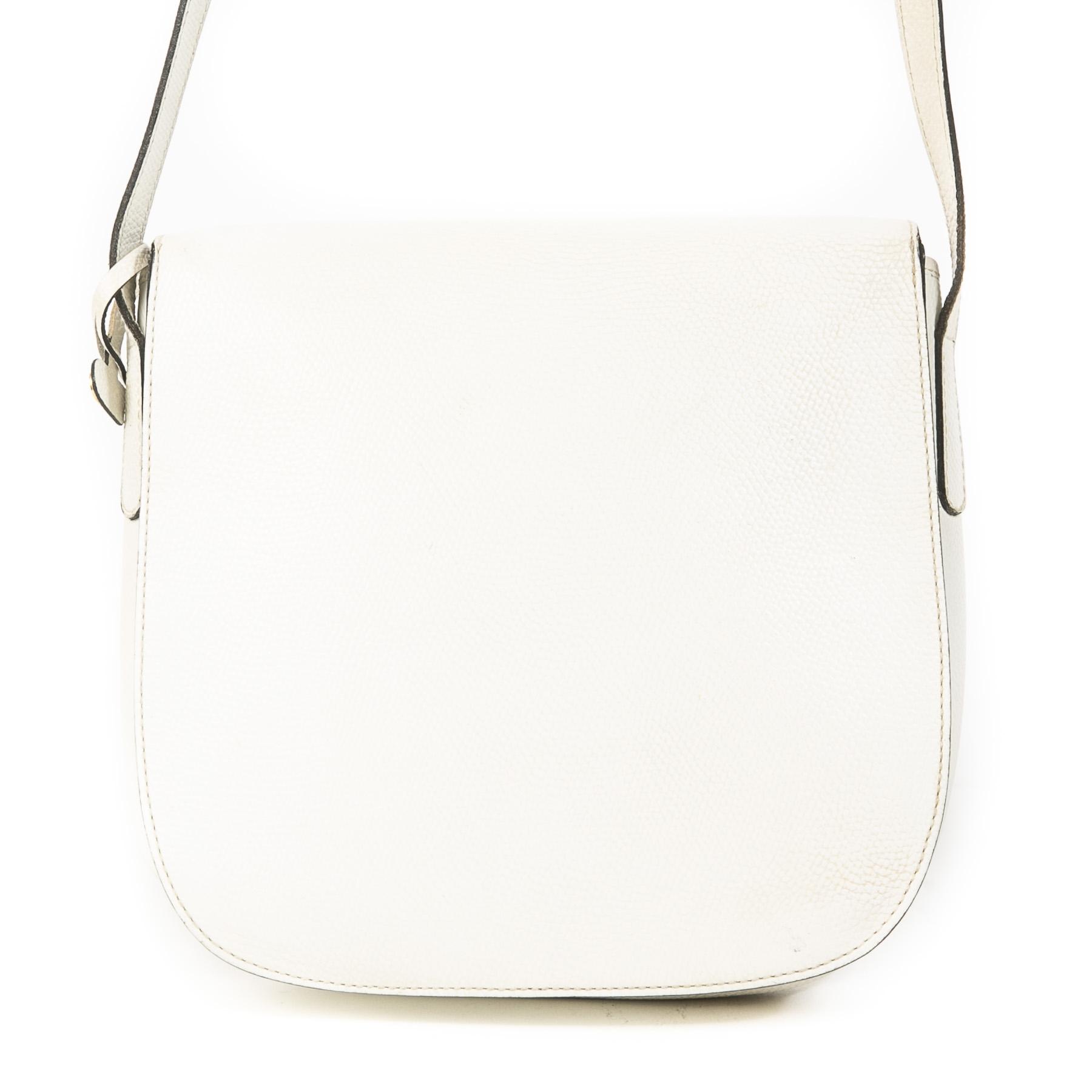 Authentieke Tweedehands Delvaux White Leather Gold D Crossbody Bag juiste prijs veilig online shoppen luxe merken webshop winkelen Antwerpen België mode fashion