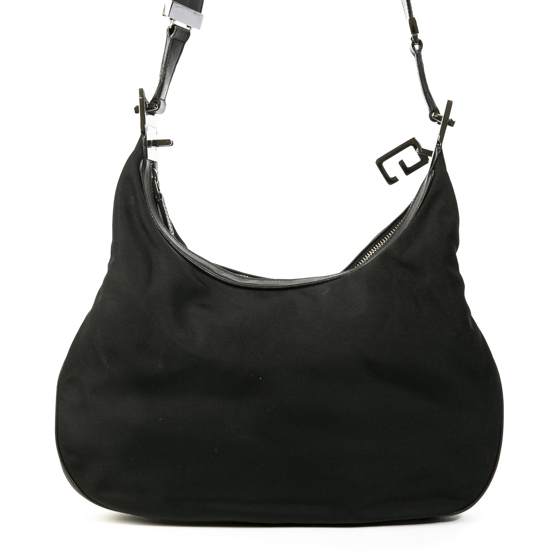 Authentieke Tweedehands Gucci Black Canvas Silver Hobo Shoulder Bag juiste prijs veilig online shoppen luxe merken webshop winkelen Antwerpen België mode fashion