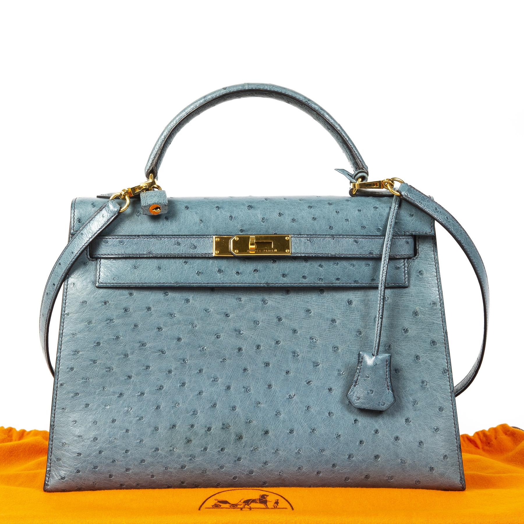 Hermès Kelly 32 Blue Jean Ostrich GHW pour le meilleur prix chez Labellov vintage luxury in Anvers Belgique