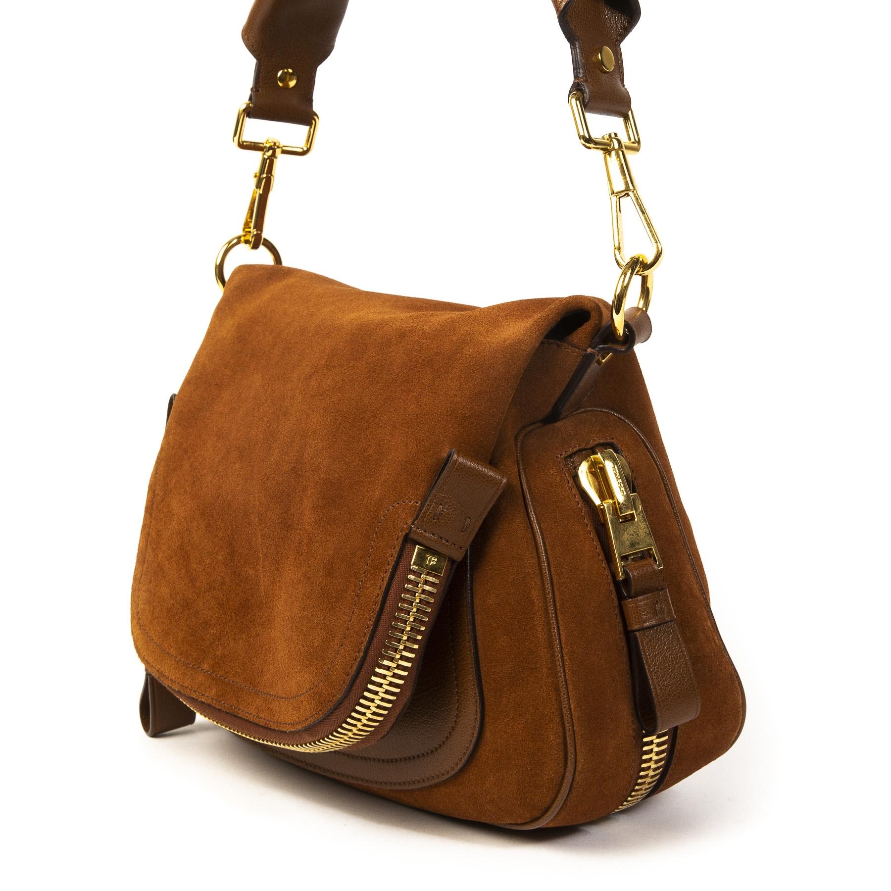 Authentieke Tweedehands Tom Ford Brown Suede Jennifer Shoulder Bag juiste prijs veilig online shoppen luxe merken webshop winkelen Antwerpen België mode fashion