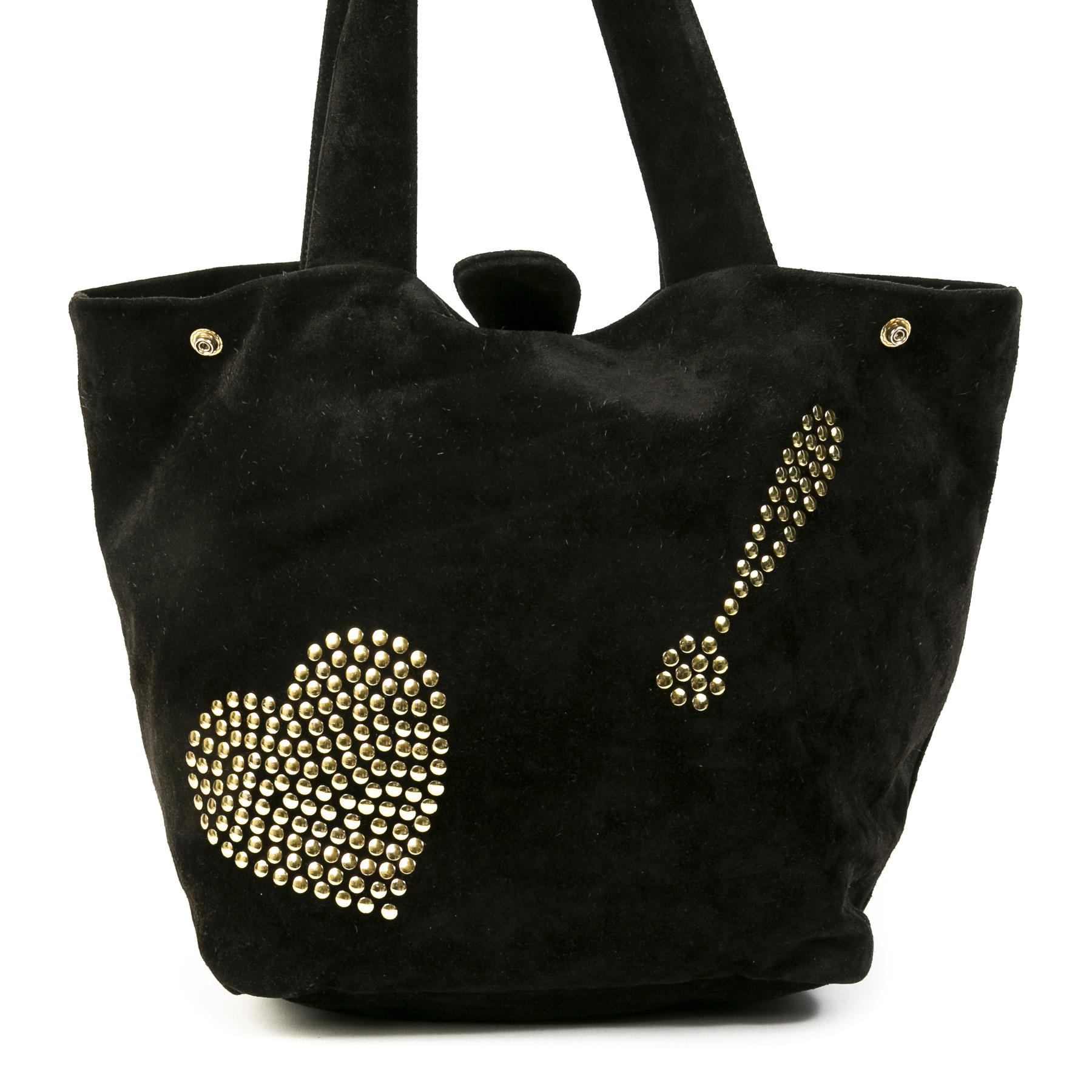 Authentieke Tweedehands Moschino Suede Studded Shoulder Bag juiste prijs veilig online shoppen luxe merken webshop winkelen Antwerpen België mode fashion