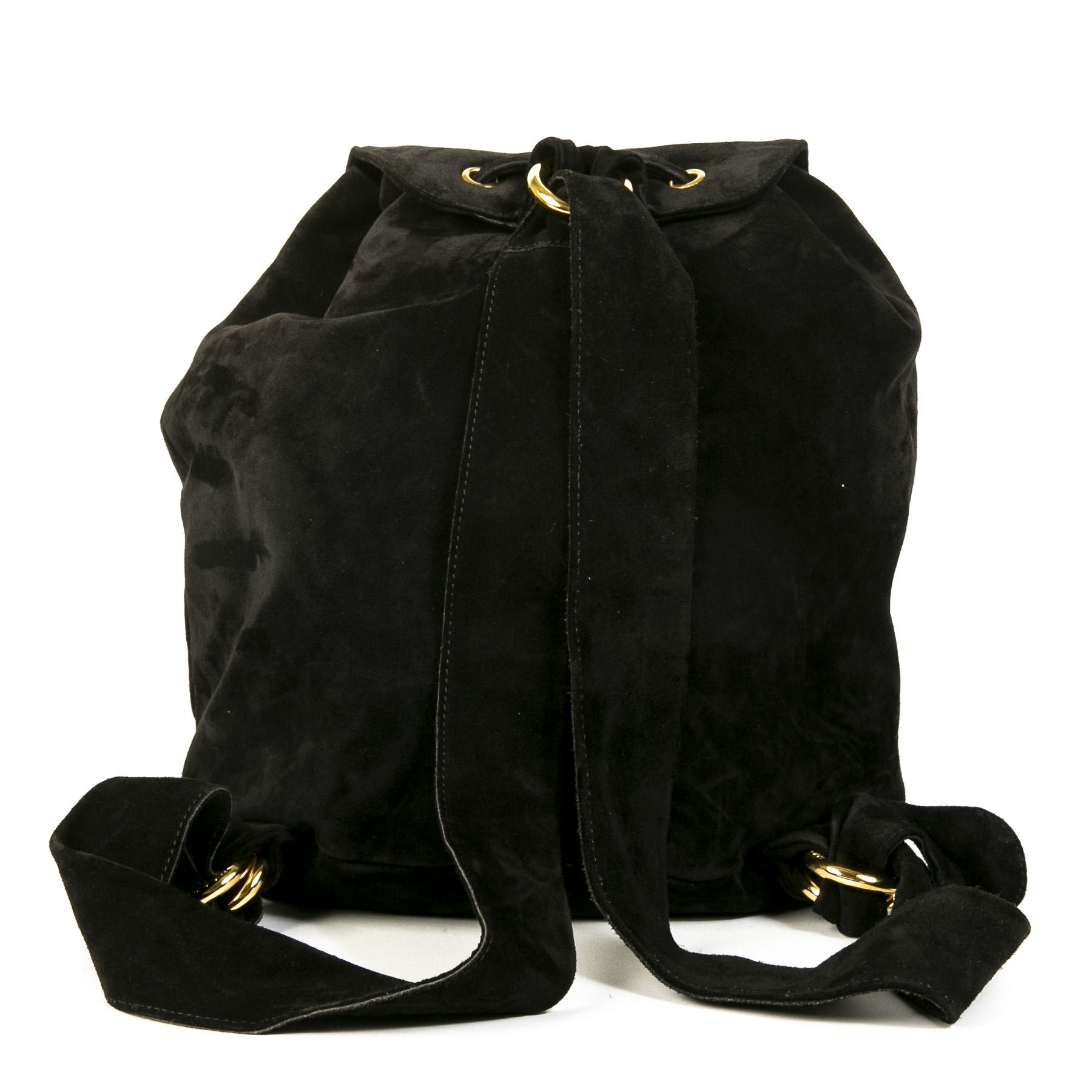 Authentieke Tweedehands Moschino Black Suede Studded Backpack juiste prijs veilig online shoppen luxe merken webshop winkelen Antwerpen België mode fashion