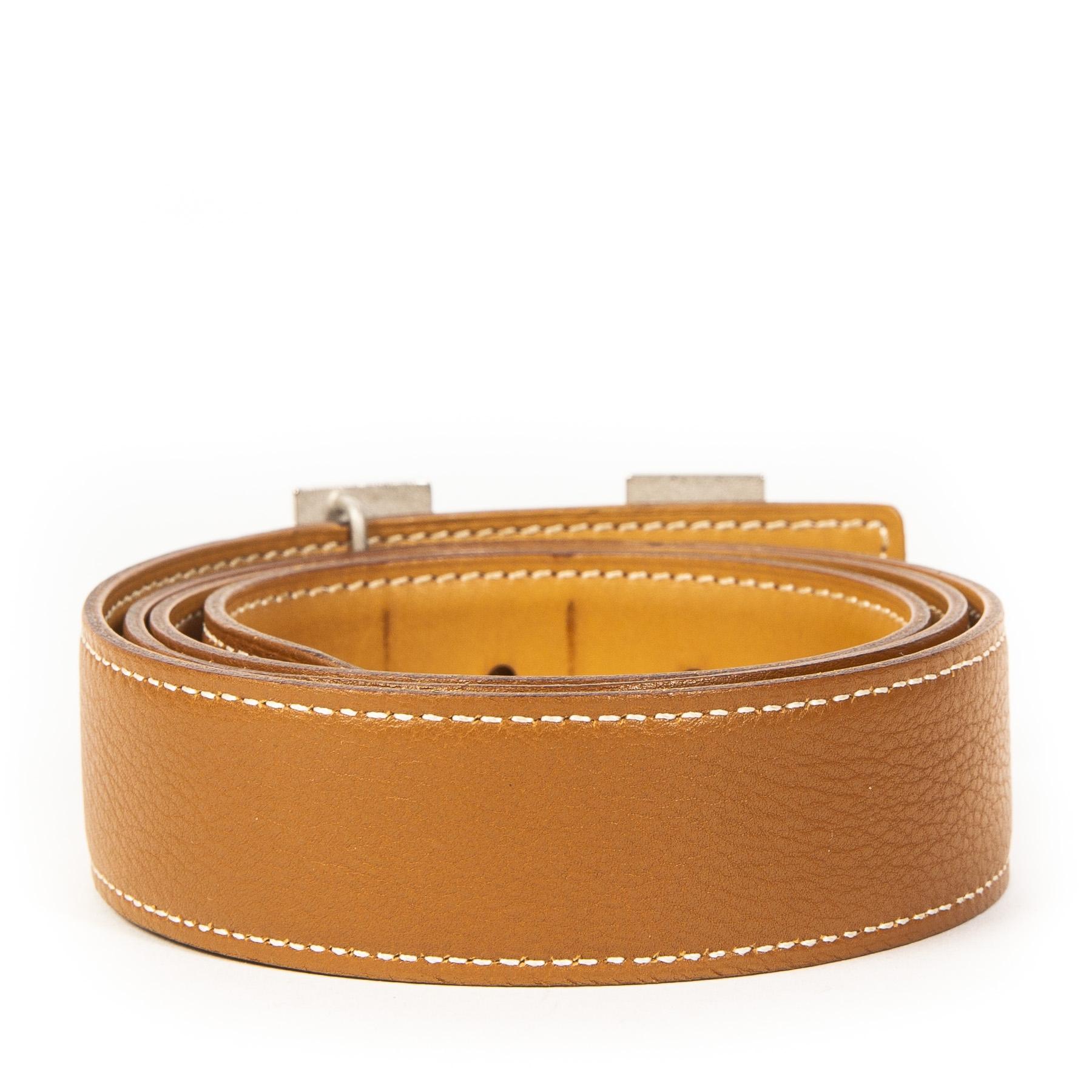 Authentieke Tweedehands Hermès Cognac H Leather Buckle Belt juiste prijs veilig online shoppen luxe merken webshop winkelen Antwerpen België mode fashion