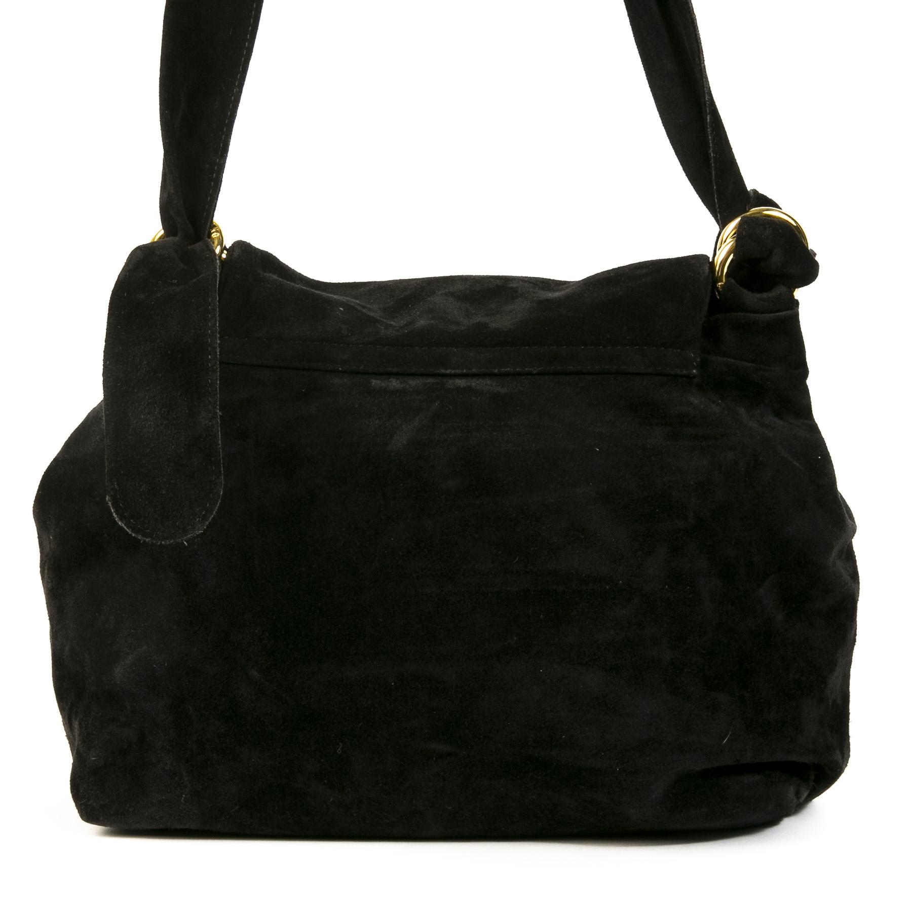 Authentieke Tweedehands Moschino Black Suede Studded Shoulder Bag juiste prijs veilig online shoppen luxe merken webshop winkelen Antwerpen België mode fashion