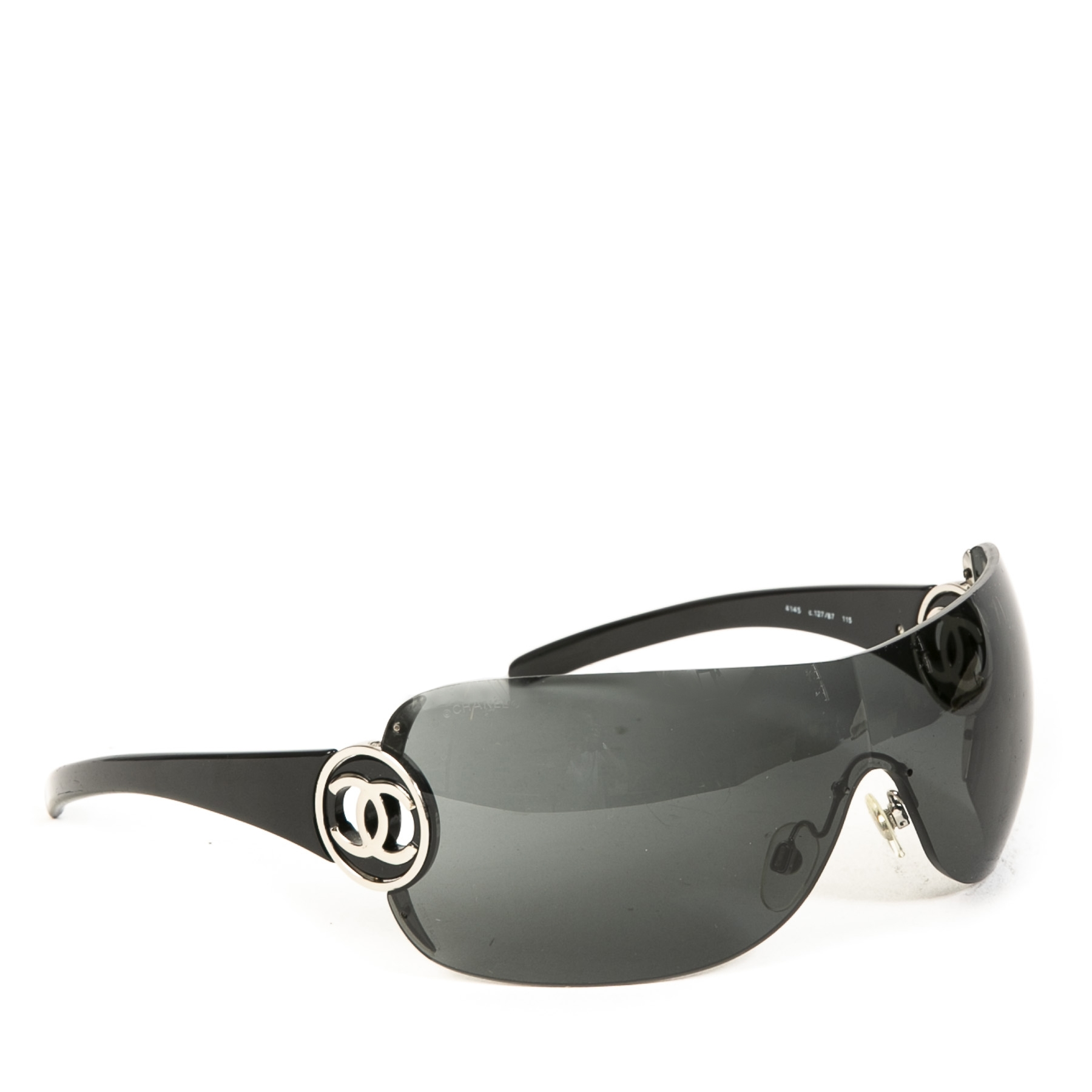 Authentic second-hand vintage Chanel CC Shield Sunglasses buy online webshop LabelLOV