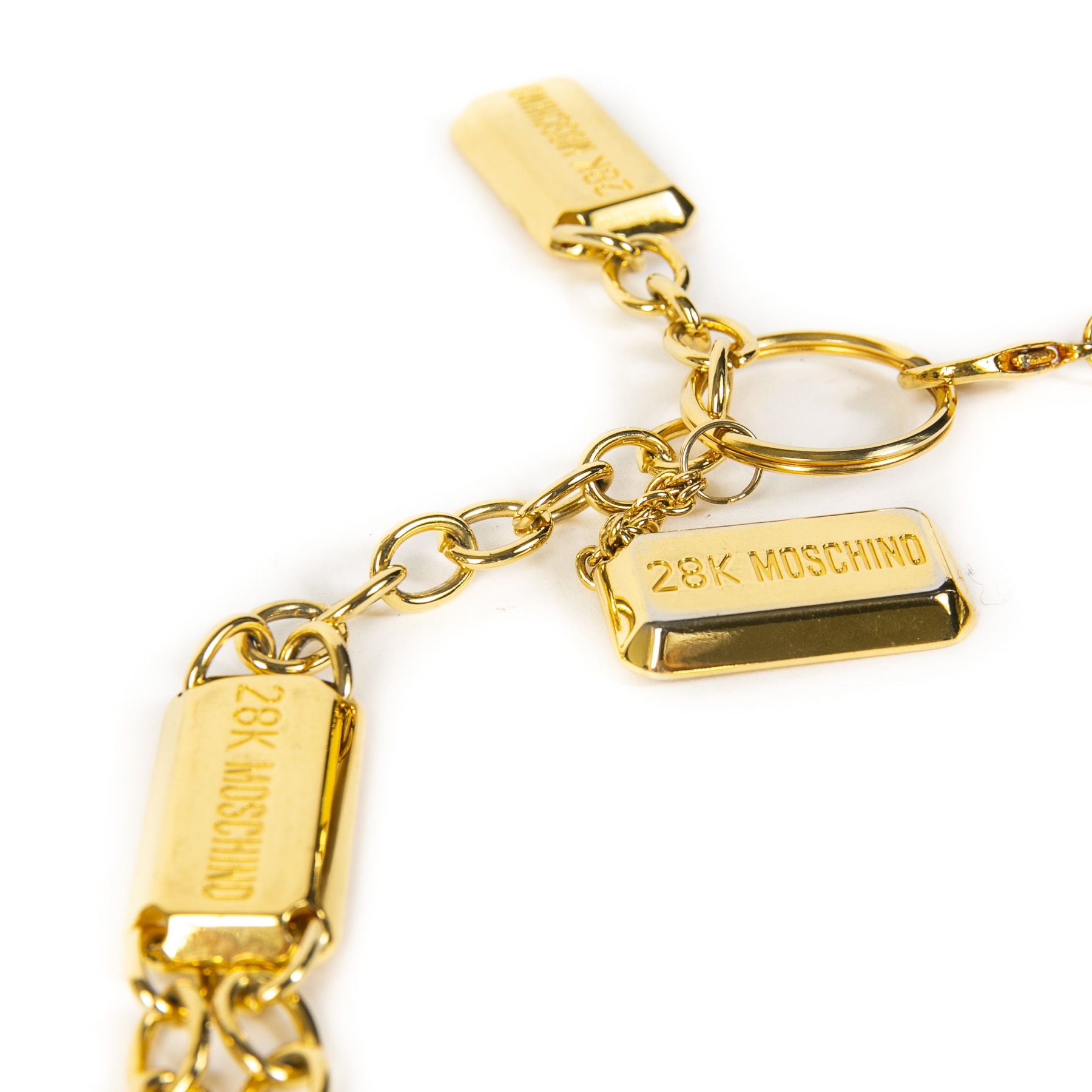 Authentieke tweedehands vintage Moschino Gold Bar Chain Belt koop online webshop LabelLOV