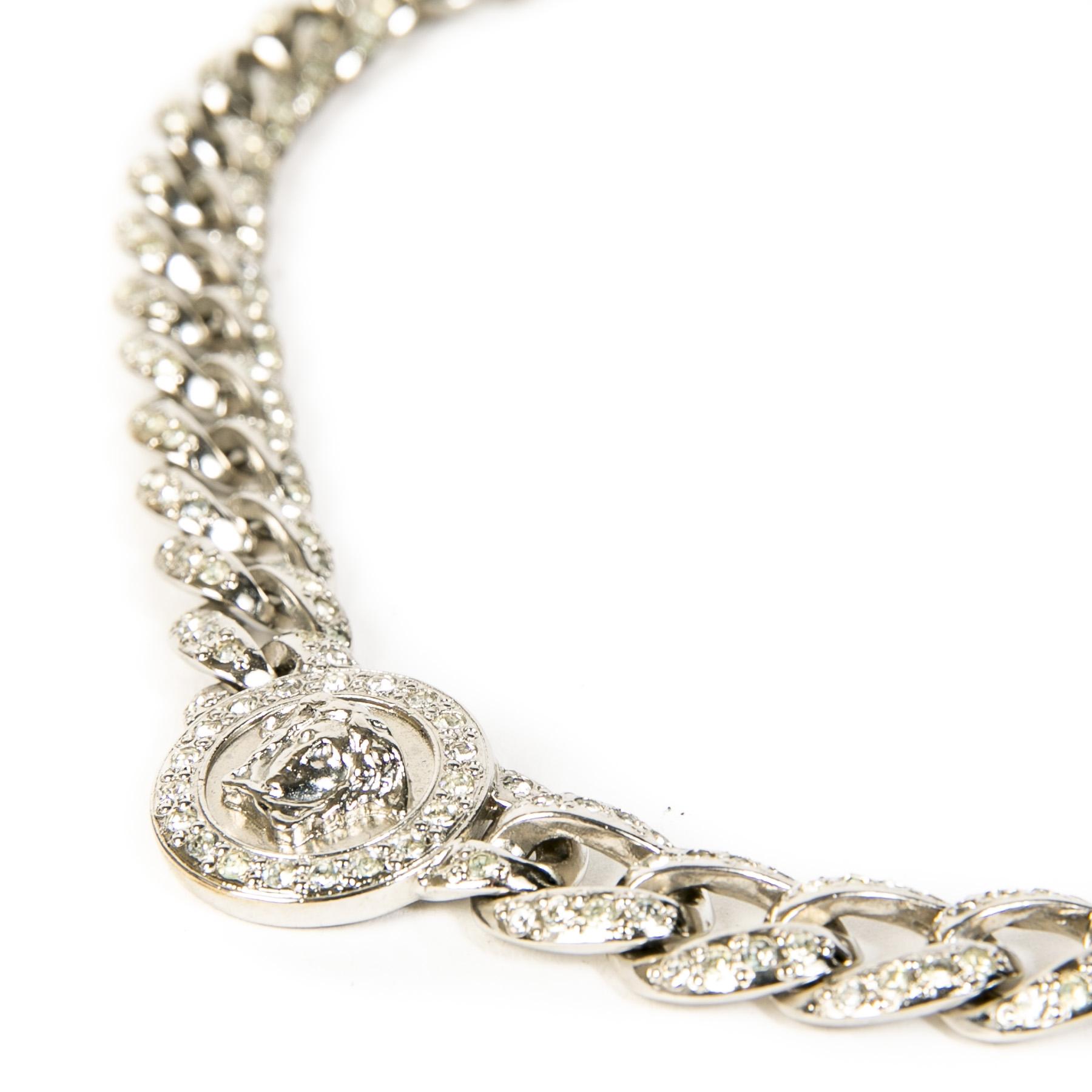 Authentieke tweedehands vintage Versace Silver Medusa Necklace koop online webshop LabelLOV