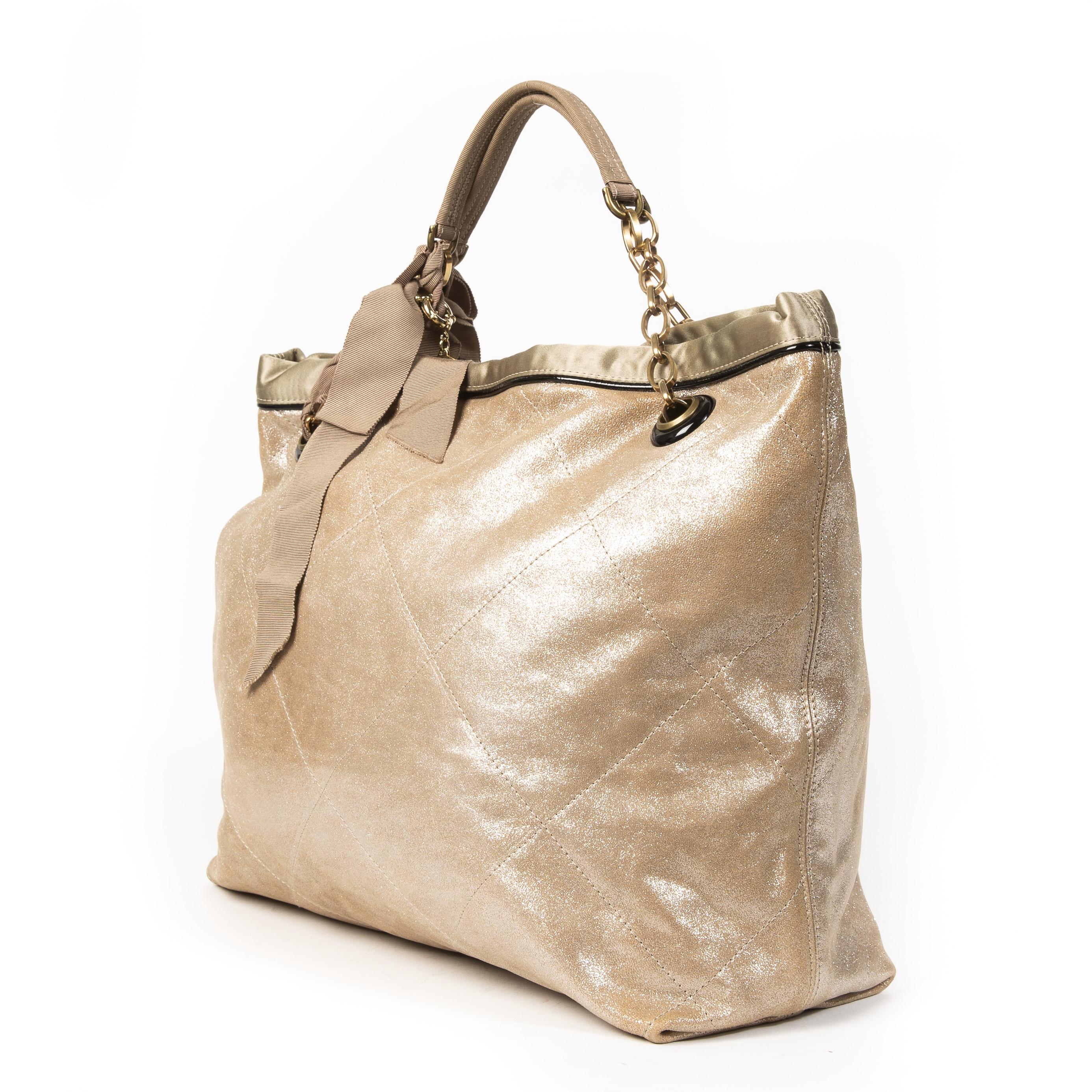 Authentieke tweedehands Lanvin Gold Amalia Leather Shoulder Bag juiste prijs veilig online winkelen LabelLOV webshop luxe merken winkelen Antwerpen België mode fashion