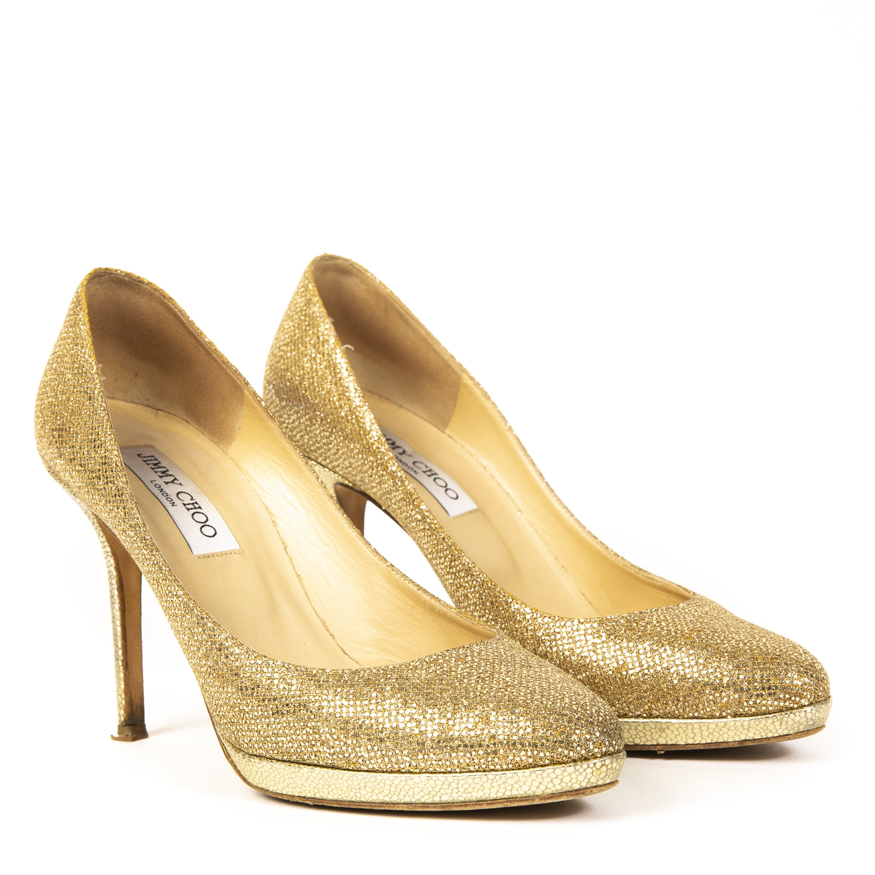 Authentieke Tweedehands Jimmy Choo Gold Glitter Pumps juiste prijs veilig online shoppen luxe merken webshop winkelen Antwerpen België mode fashion