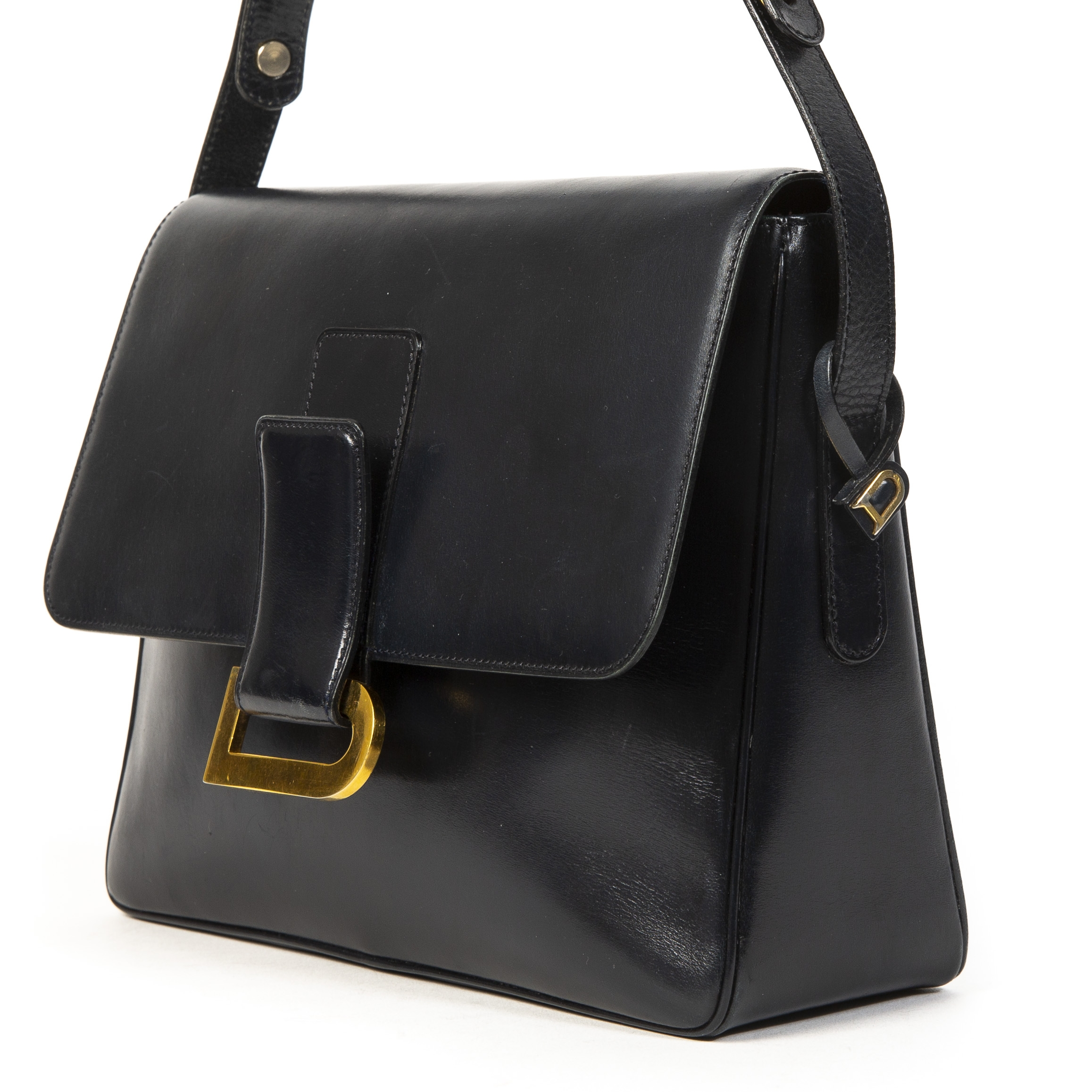Delvaux Dark Blue Passerelle Shoulder Bag