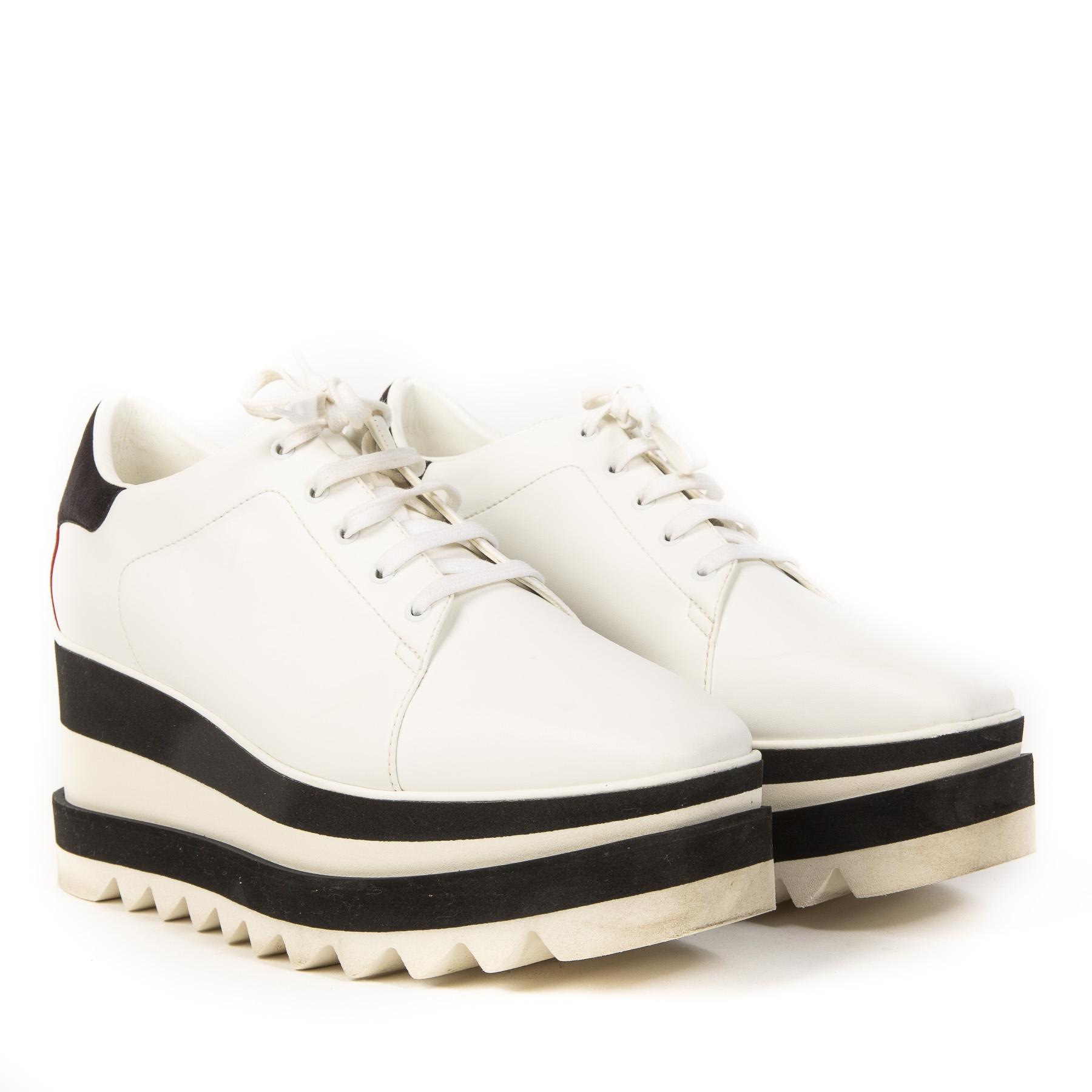 Authentieke Tweedehands Stella McCartney Black White Elyse Shoes juiste prijs veilig online shoppen luxe merken webshop Antwerpen België fashion mode