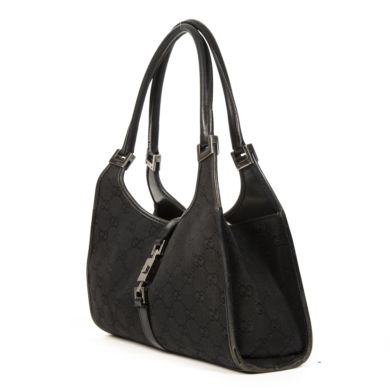 Gucci Black GG Monogram Fabric Shoulder Bag