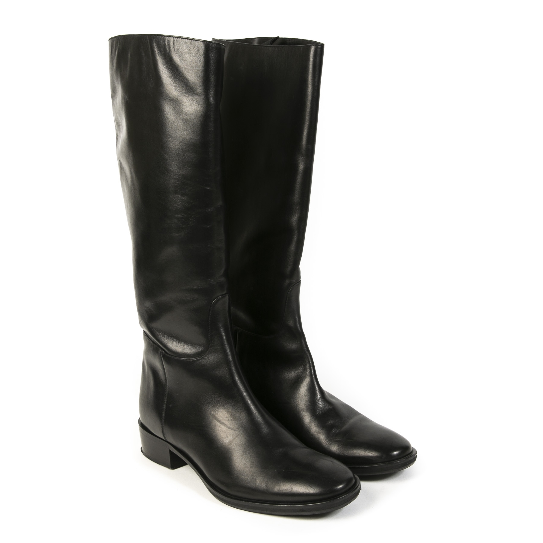 Authentieke tweedehands vintage Max Mara Knee-High Leather Boots koop online webshop LabelLOV