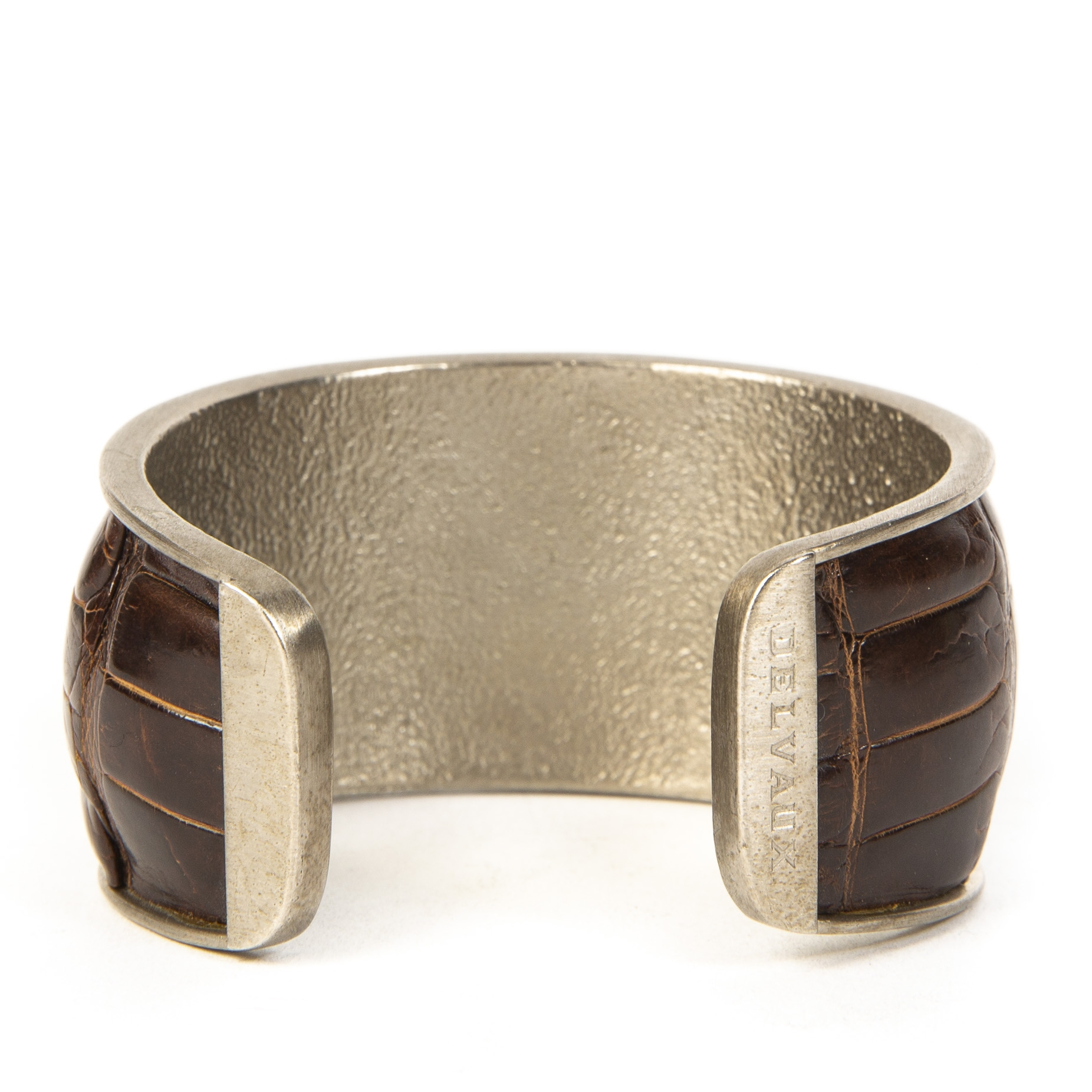 Delvaux Brown Croco Cuff Bracelet