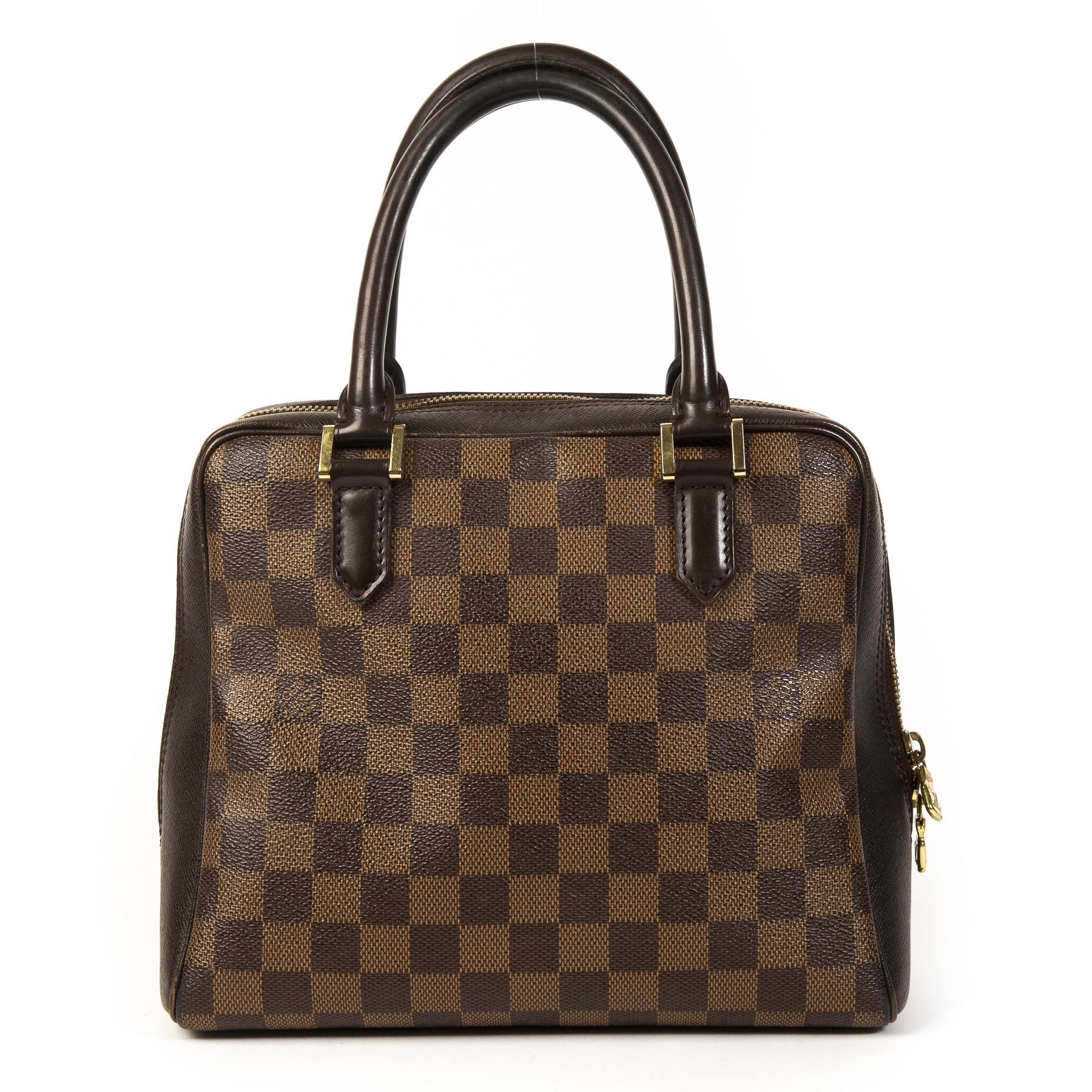 Authentieke Tweedehands Louis Vuitton Damier Ebene Triana Top Handle Bag juiste prijs veilig online shoppen luxe merken webshop winkelen Antwerpen België mode fashion