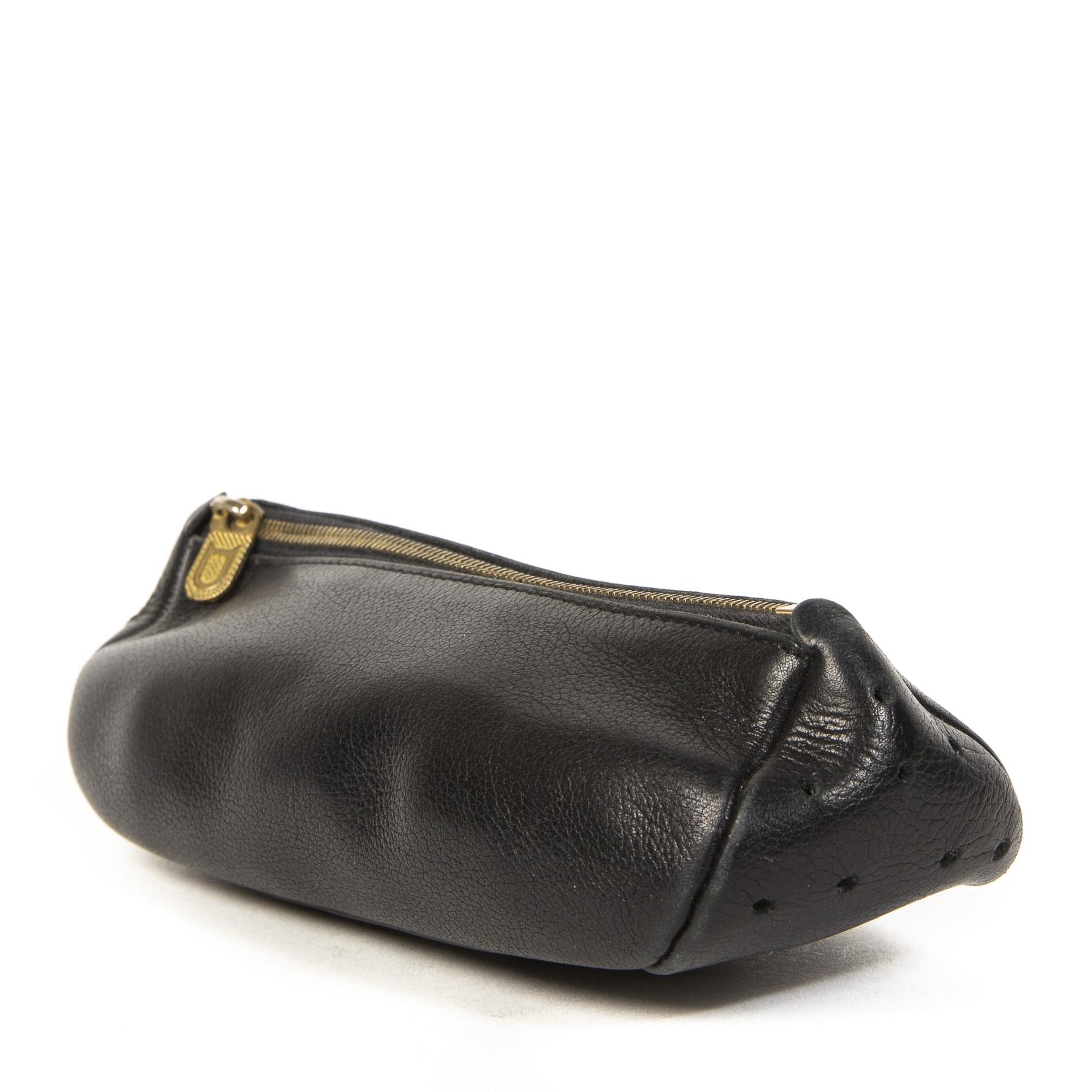 Authentieke tweedehands Delvaux Black Leather Pochette juiste prijs veilig online winkelen LabelLOV webshop luxe merken