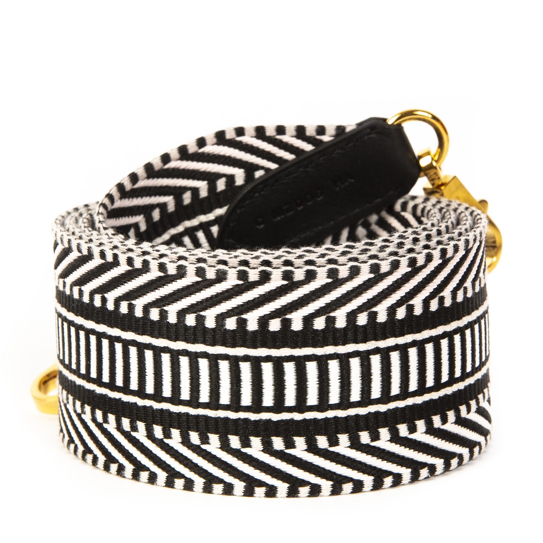 Authentieke Tweedehands Hermès White & Black Bag Strap Sangle Cavale juiste prijs veilig online shoppen luxe merken webshop winkelen Antwerpen België mode fashion