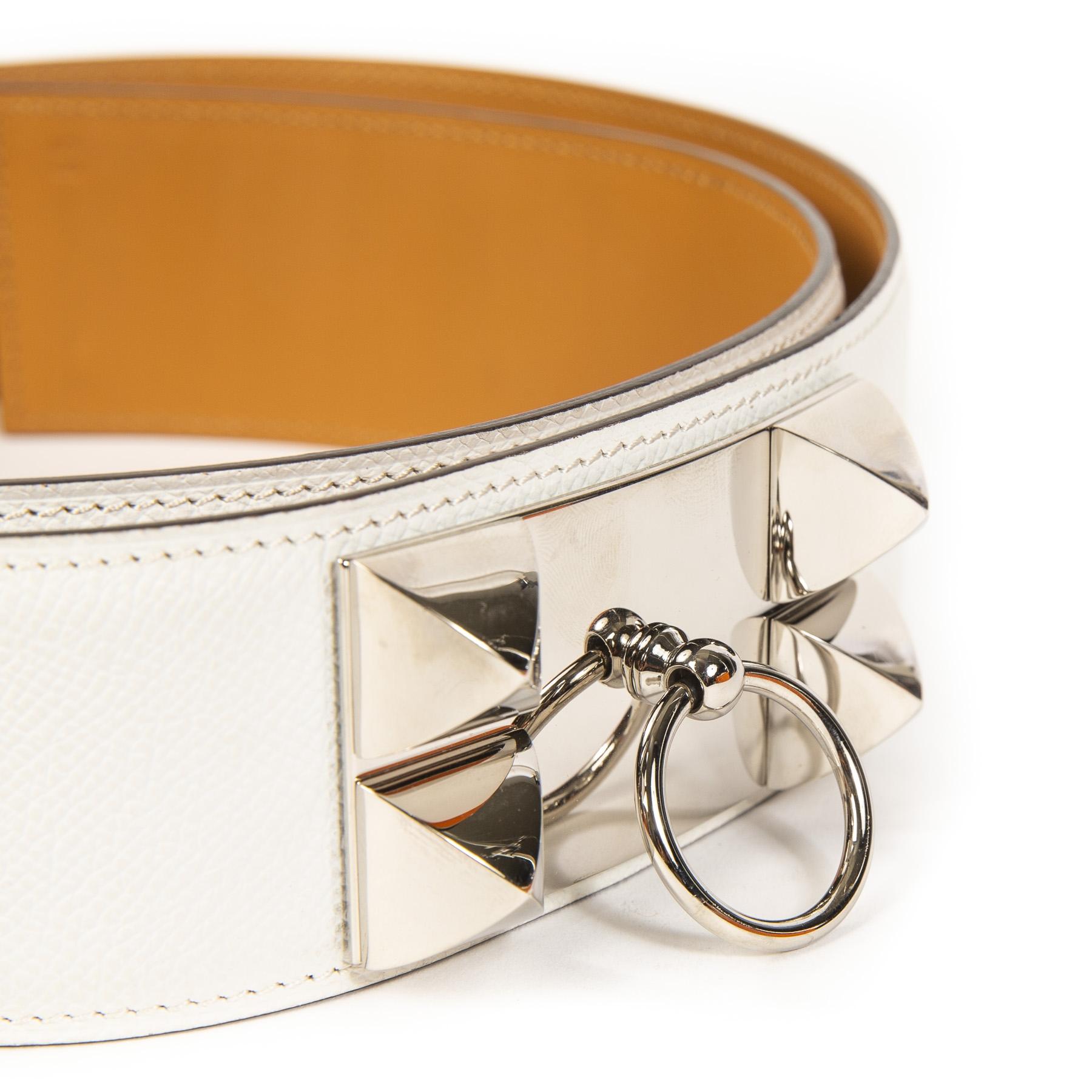Authentieke Tweedehands Rare Hermès White Collier De Chien Belt juiste prijs veilig online shoppen luxe merken webshop winkelen Antwerpen België mode fashion